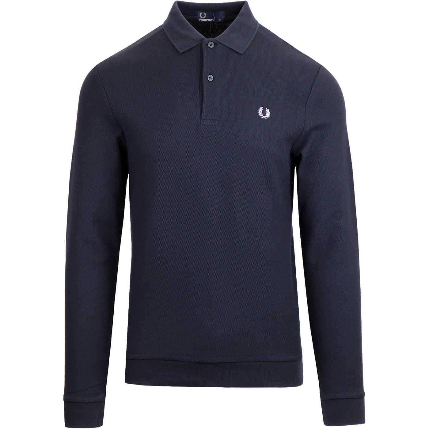 FRED PERRY Retro Honeycomb Pique Mod LS Polo NAVY