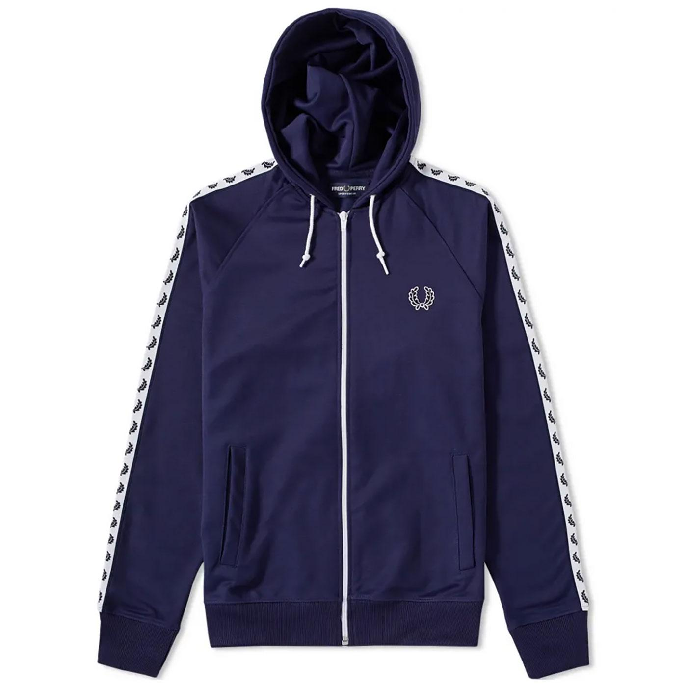 FRED PERRY Mens Sports Tape Hooded Track Jacket CB