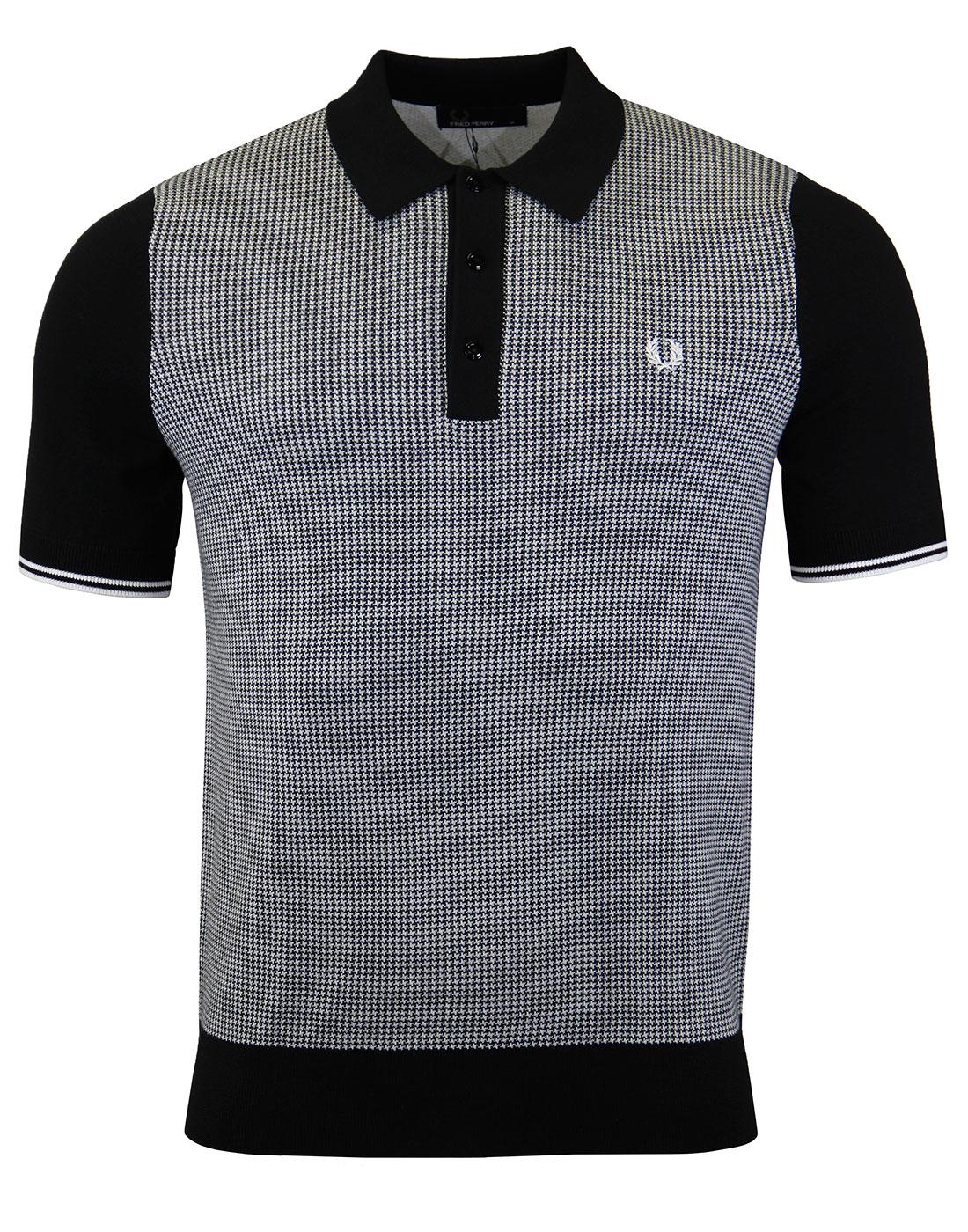 FRED PERRY Retro Mod Houndstooth Knitted Polo