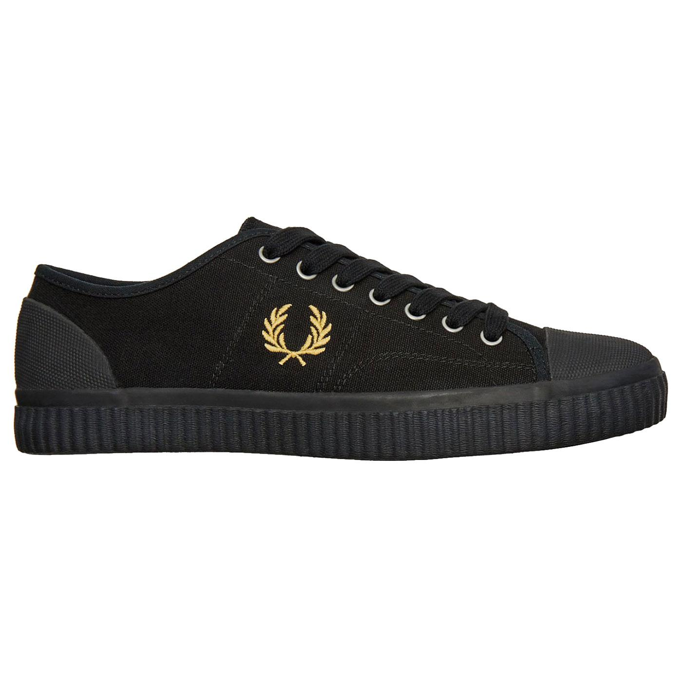 Hughes Low FRED PERRY Men's Canvas Trainers BLACK
