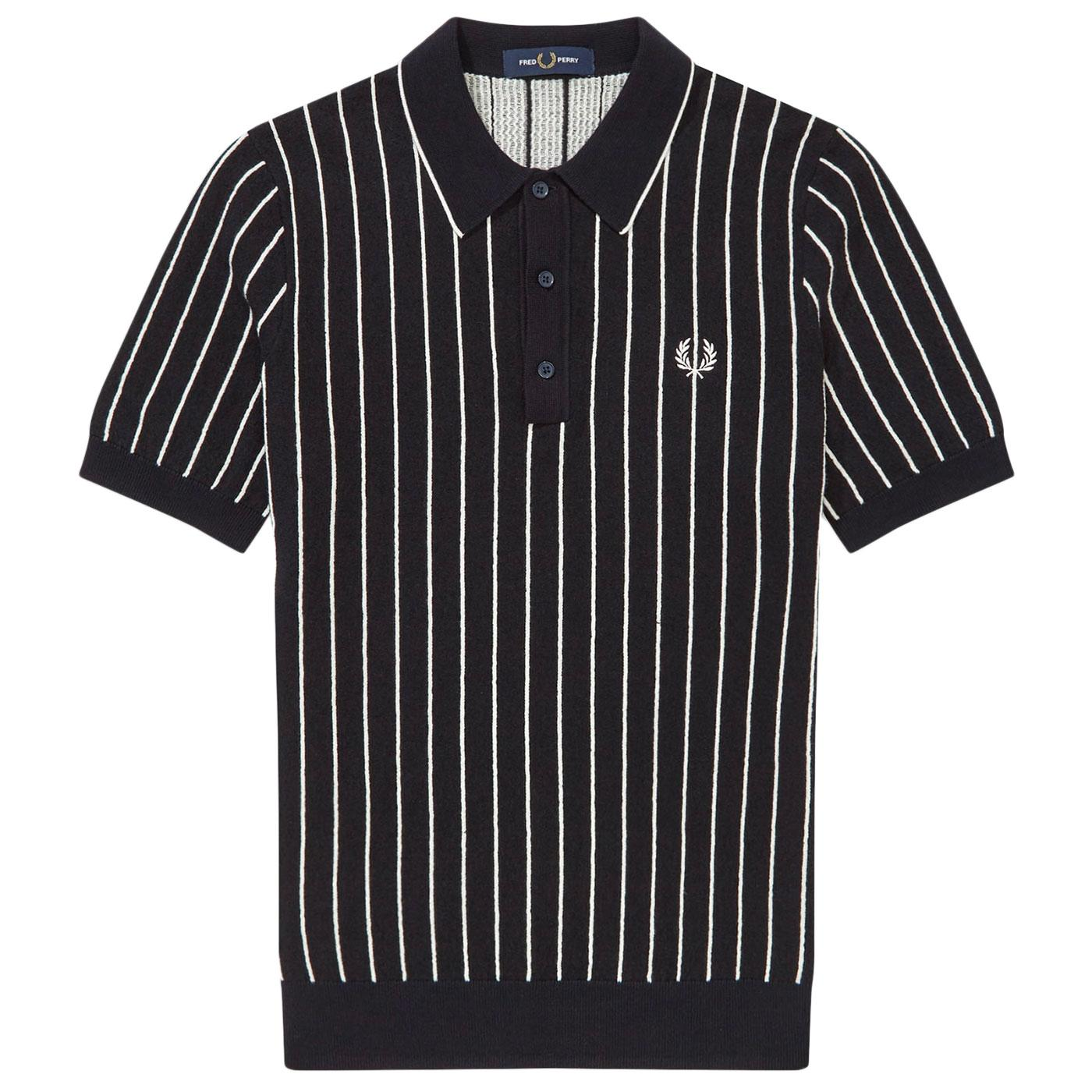 FRED PERRY K8523 Mod Stripe Knitted Polo Top NAVY