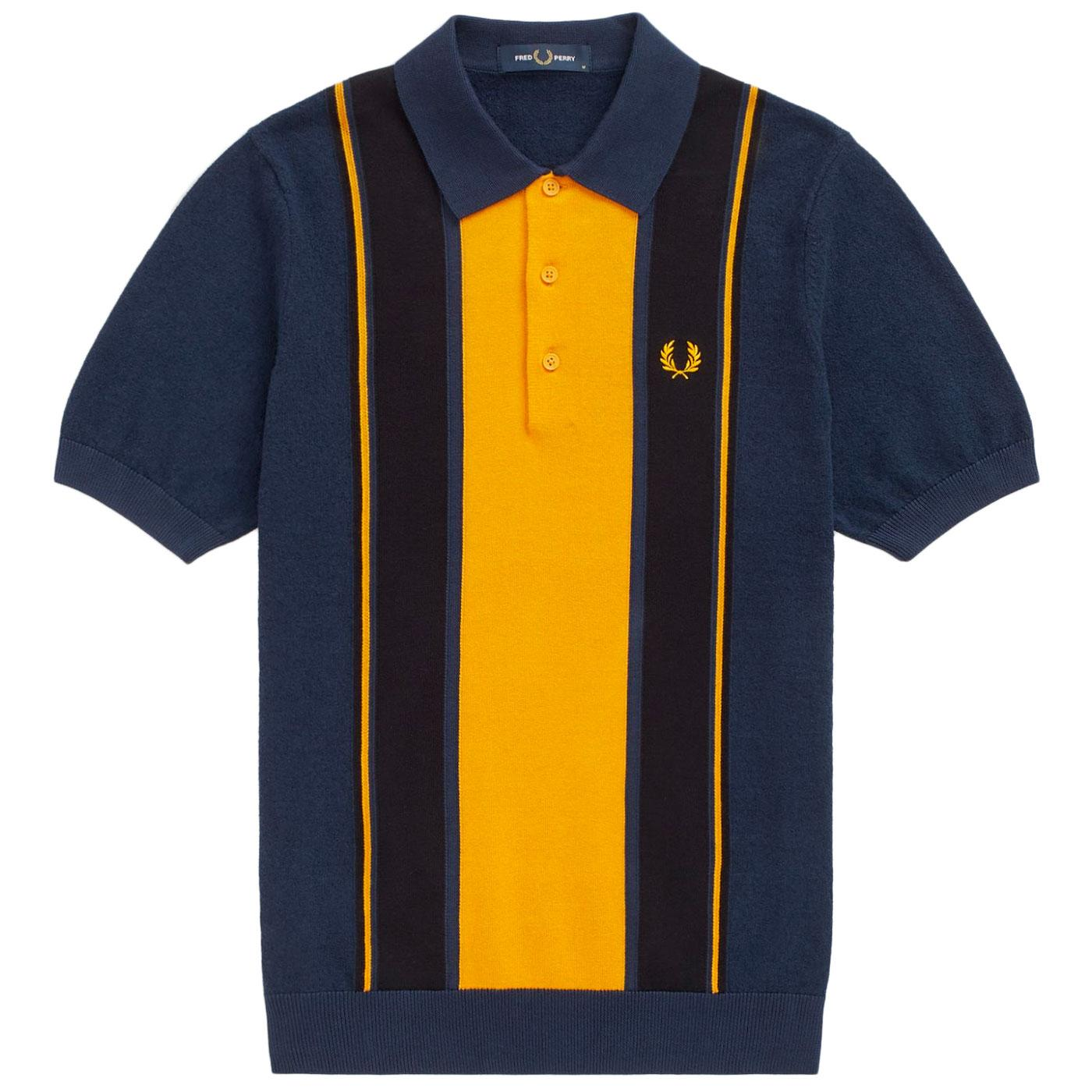 FRED PERRY K9548 Retro Mod Striped Knit Polo Shirt