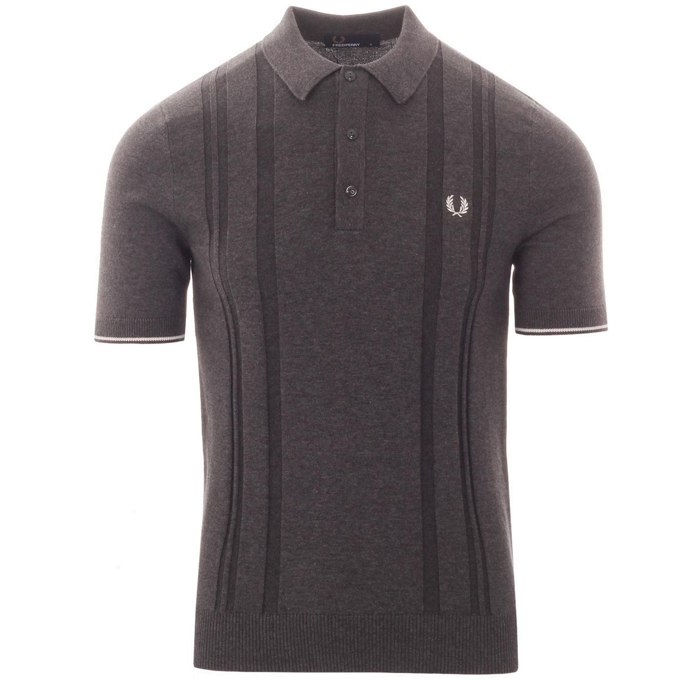 FRED PERRY Mod Knitted Dropstitch Stripe Polo