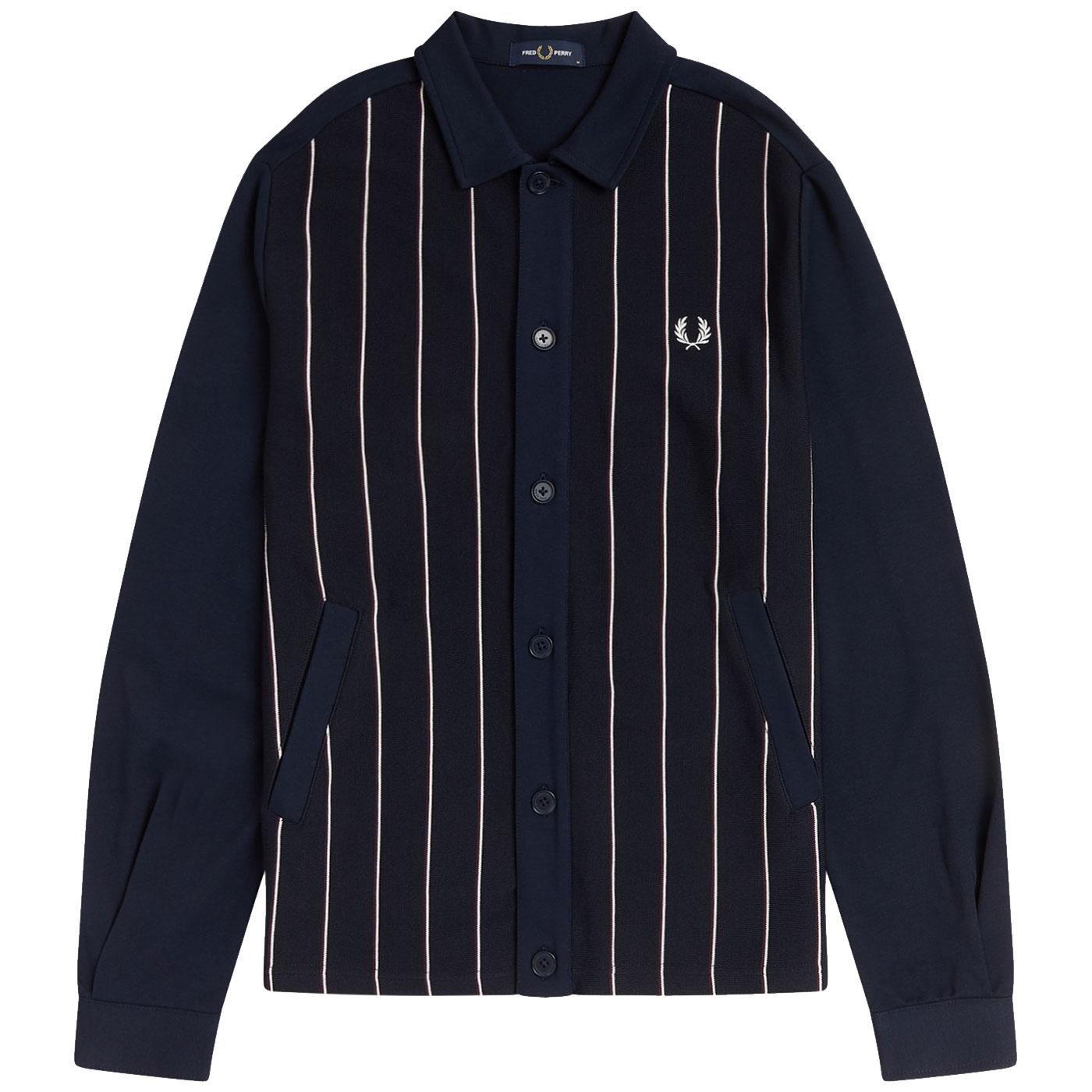 FRED PERRY Mod Knitted Fine Stripe Track Jacket