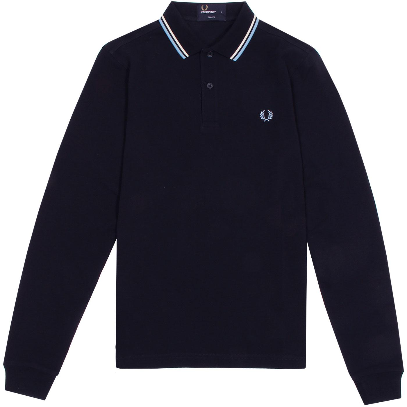FRED PERRY Mod Long Sleeve Twin Tipped Pique Polo