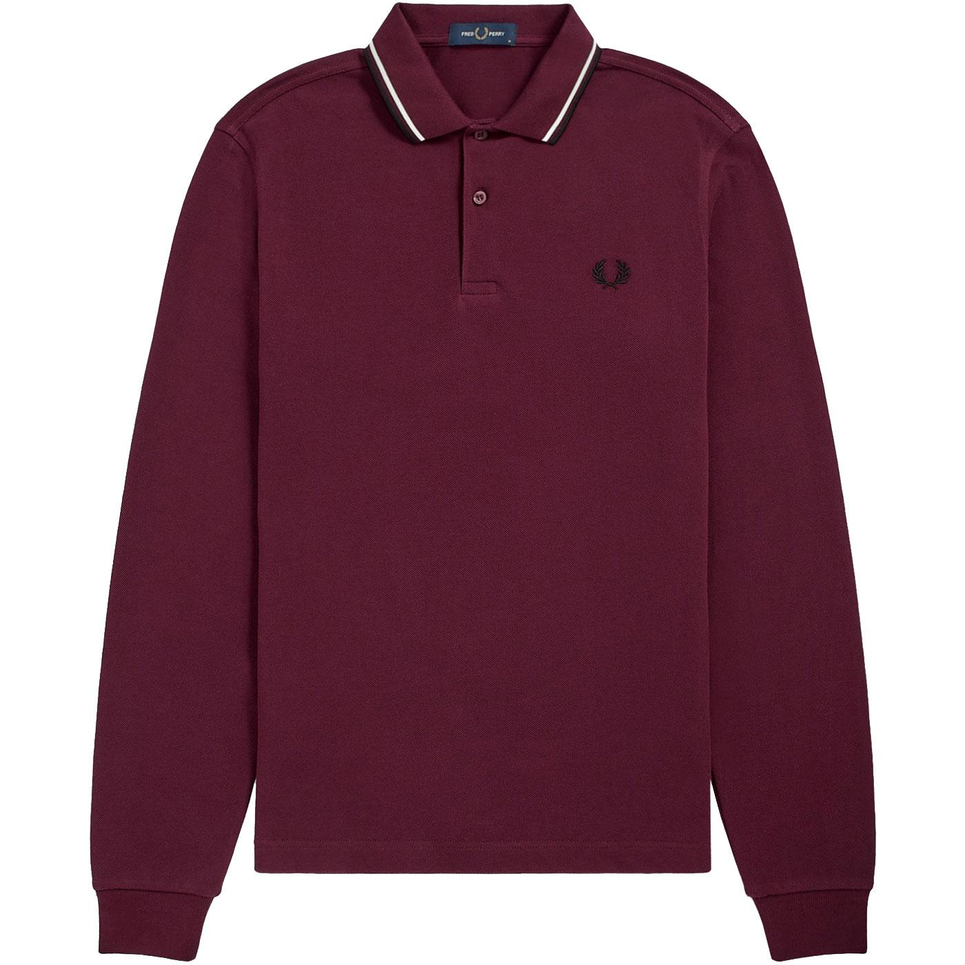 FRED PERRY Twin Tipped Long Sleeve Polo Shirt (M)