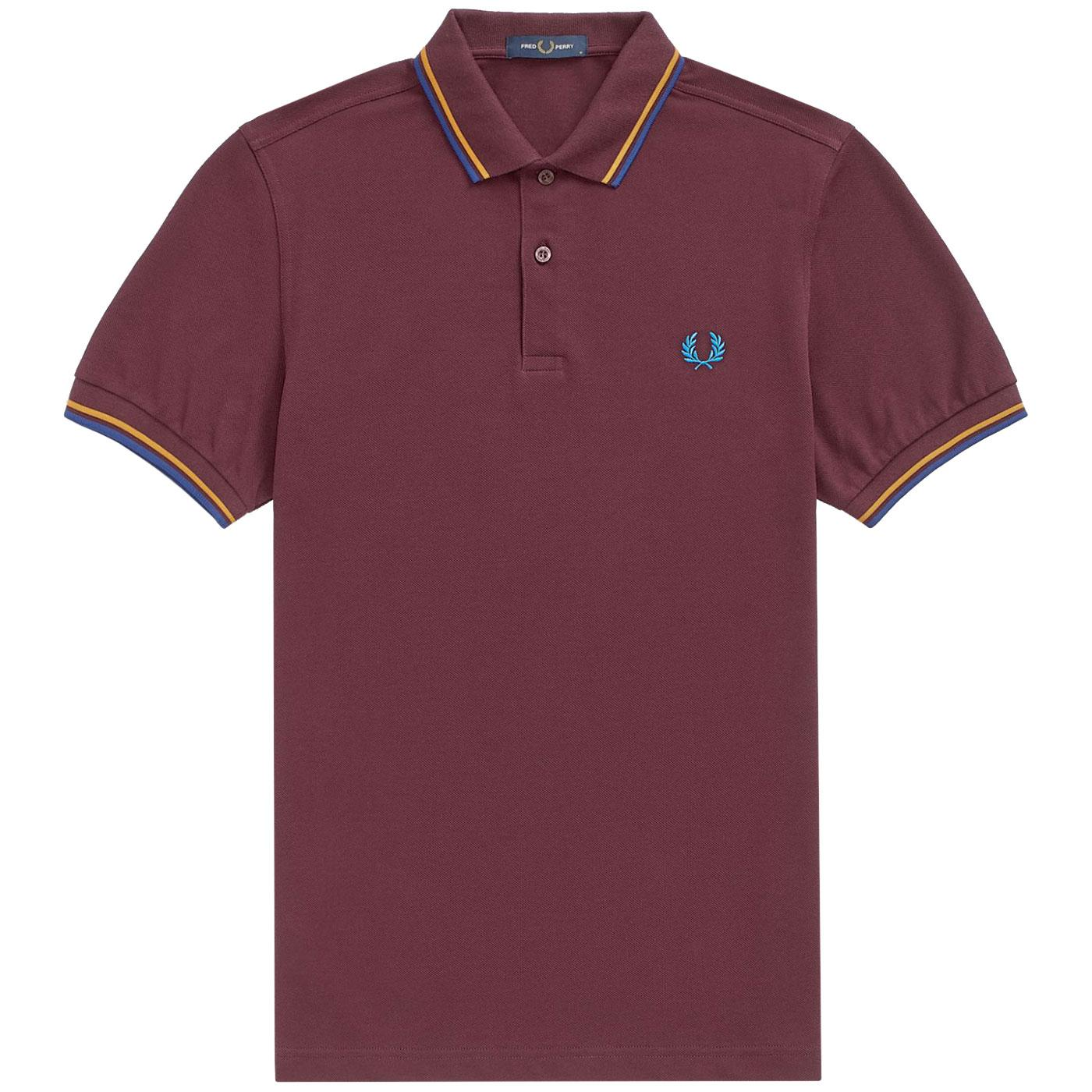 FRED PERRY M3600 Twin Tipped Pique Polo MAHOGANY