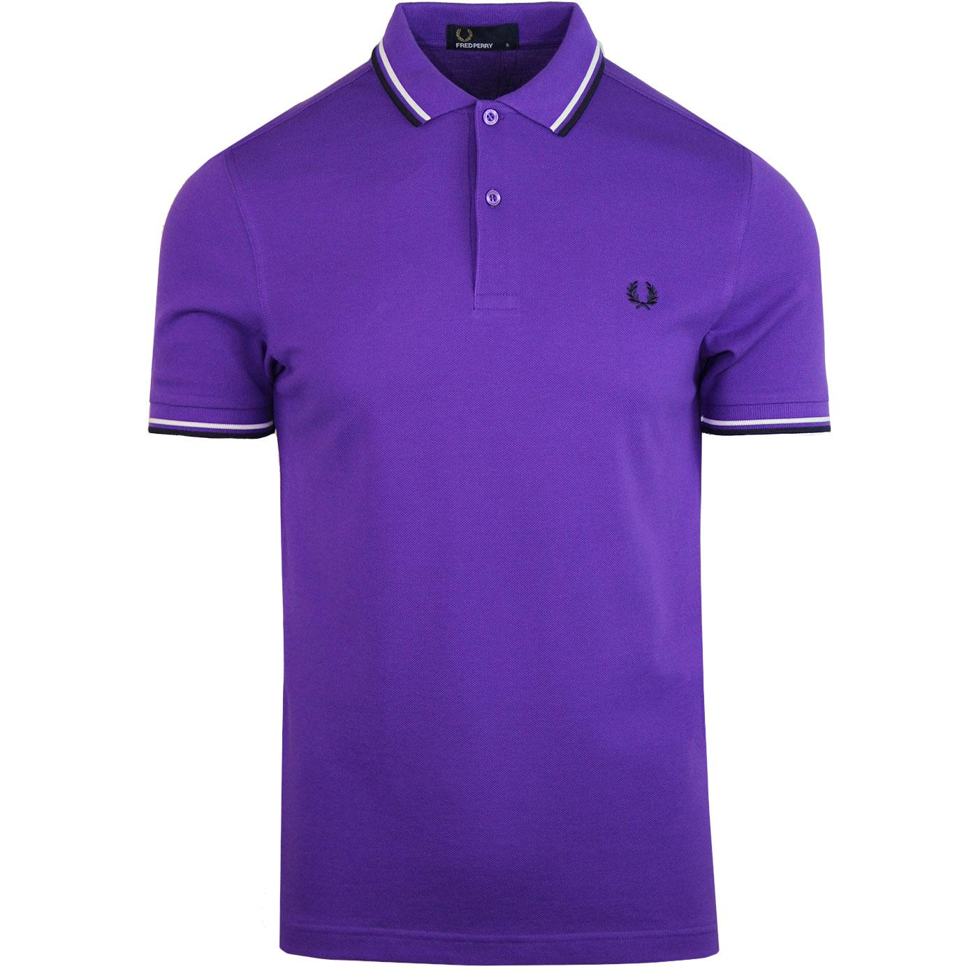 FRED PERRY M3600 Mod Twin Tipped Polo Shirt PURPLE