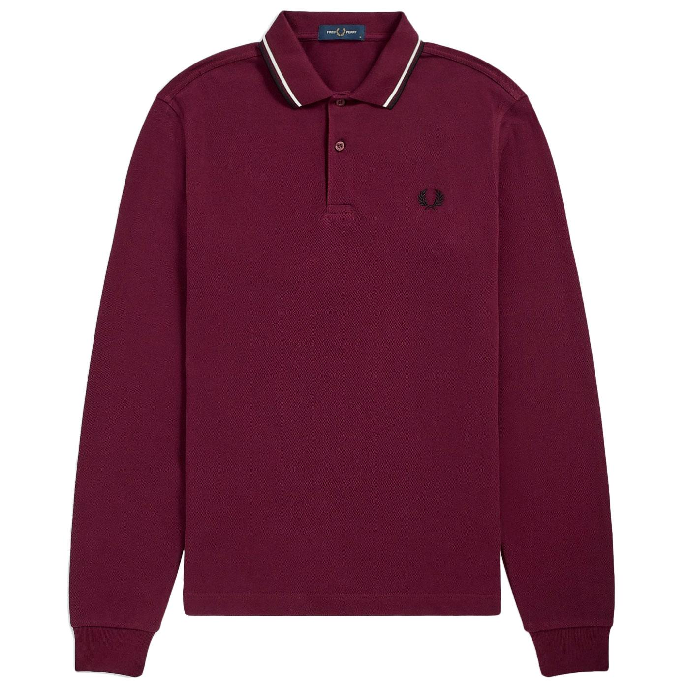 FRED PERRY Twin Tipped Long Sleeve Polo (Mahogany)