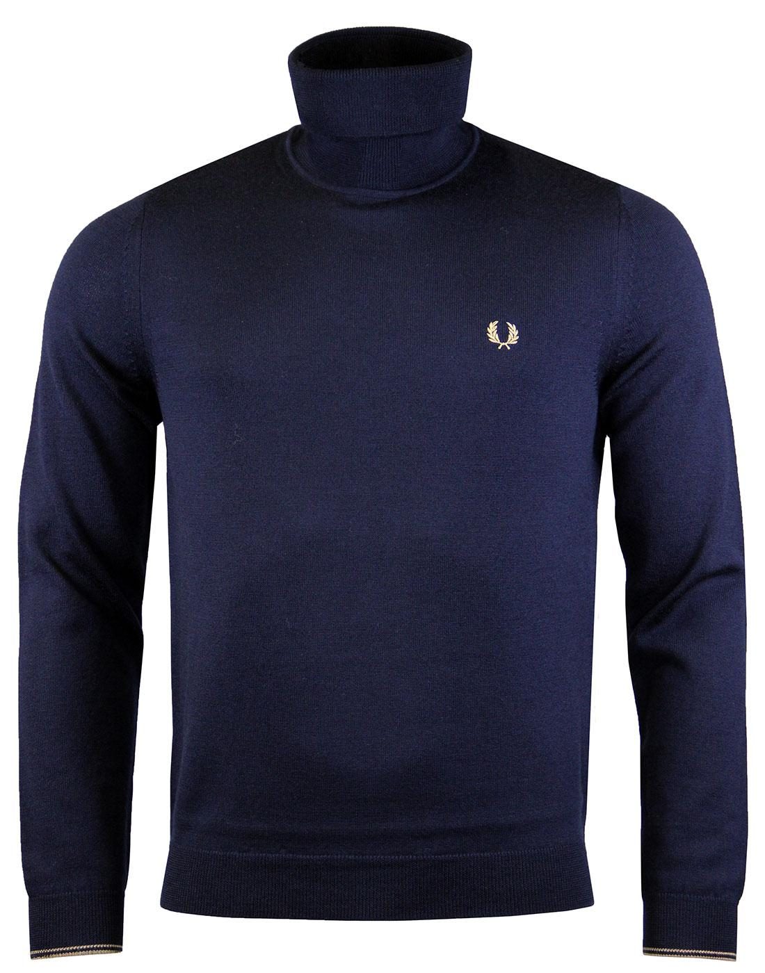 FRED PERRY Knitted Merino Wool Roll Neck Jumper DC
