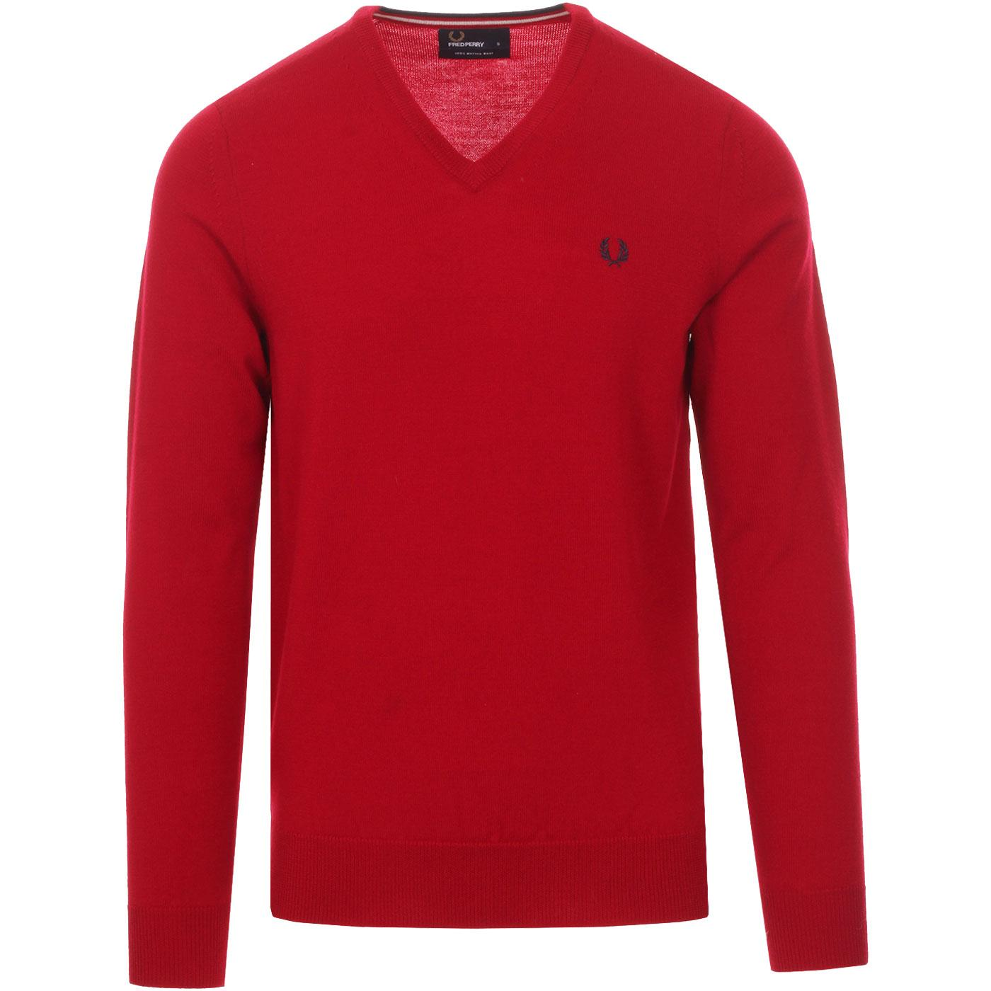FRED PERRY Merino Wool Knitted V-Neck Jumper DR