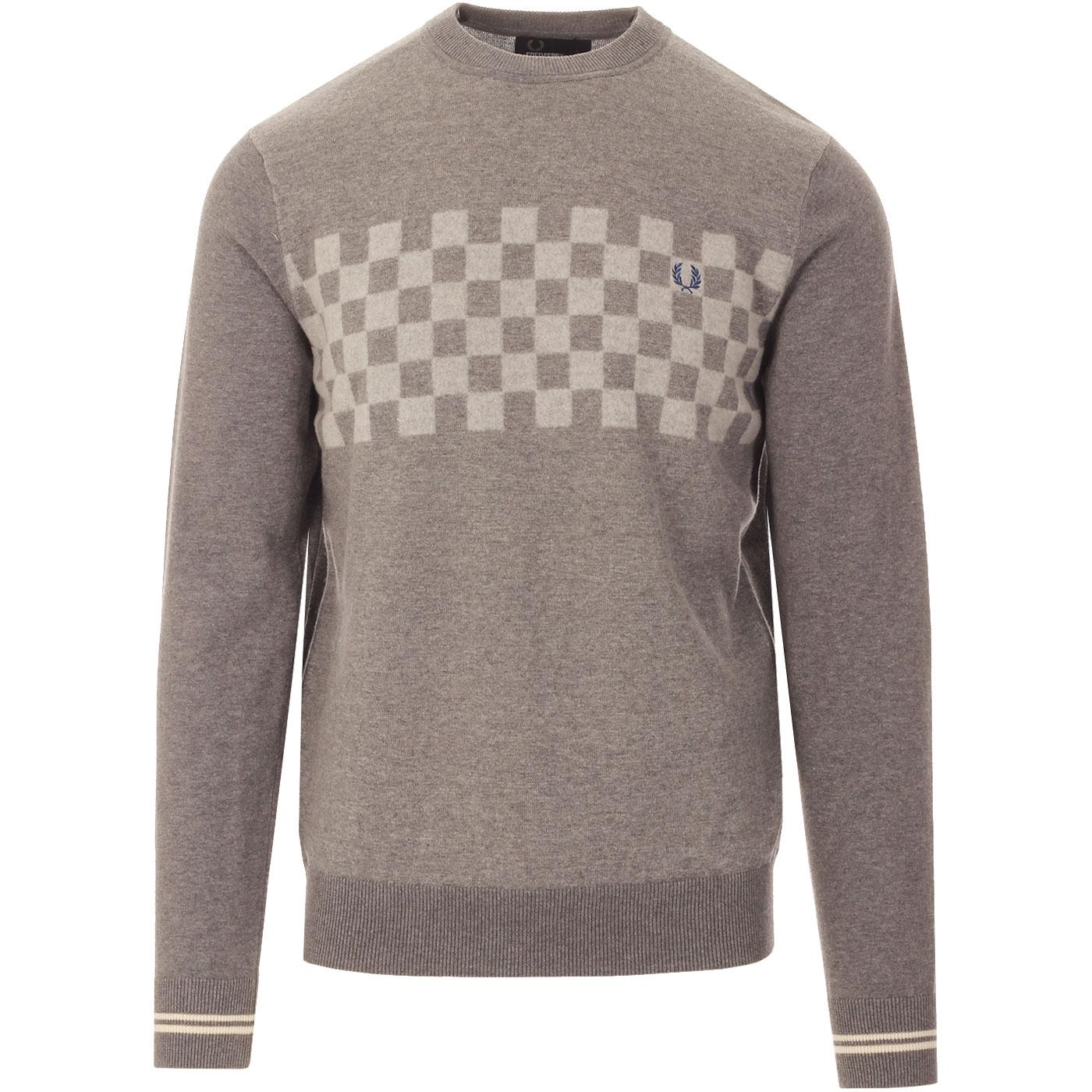 FRED PERRY Knitted Needlepunch Checkerboard Jumper