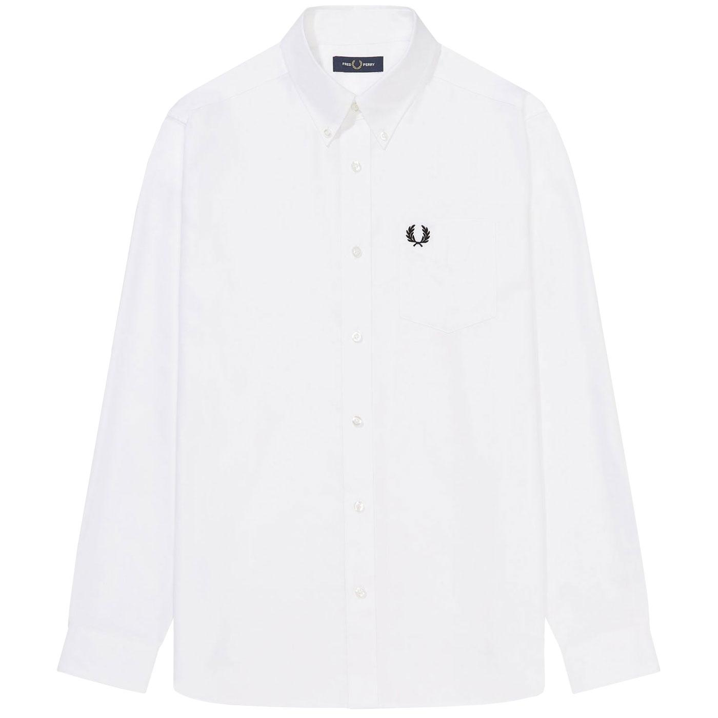 FRED PERRY Mens Button Down L/S Oxford Shirt WHITE
