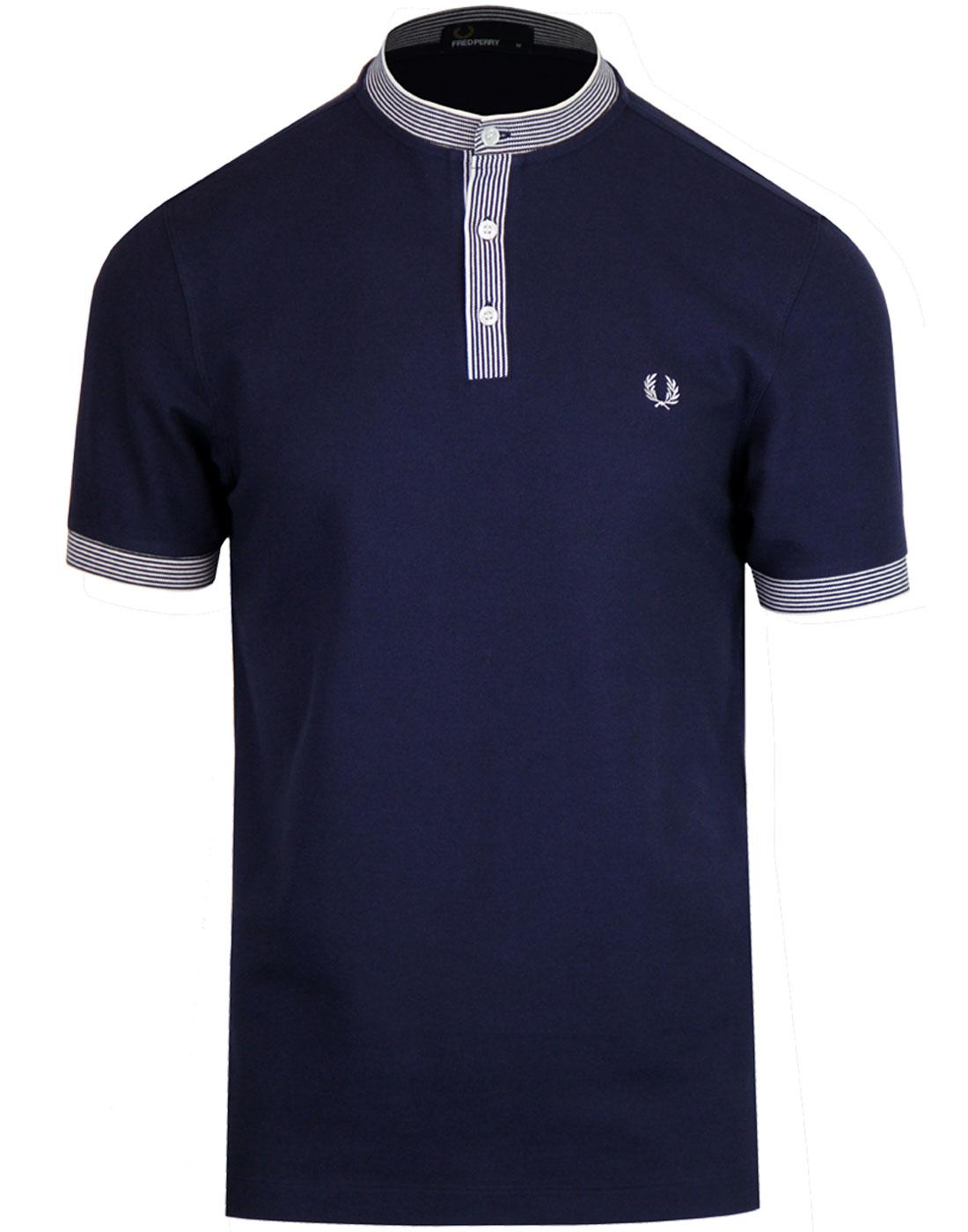 FRED PERRY Retro Mod Indie Henley Pique Shirt