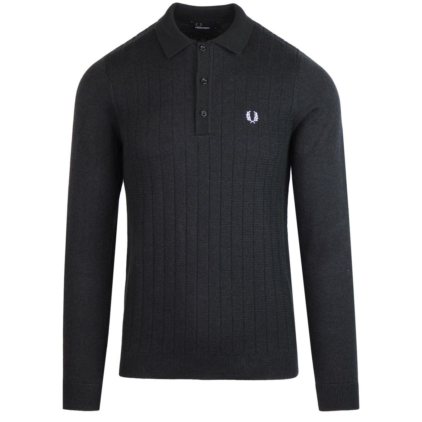 FRED PERRY Mod Textured Ribbed Knit Polo Shirt BM