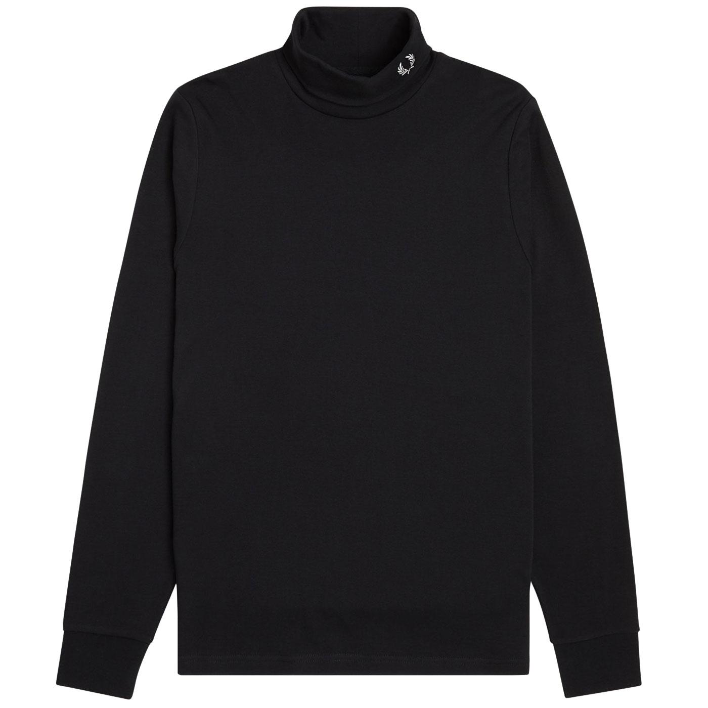 FRED PERRY Men's Retro Jersey Roll Neck Top BLACK