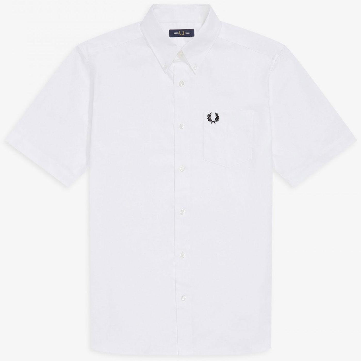 FRED PERRY Retro Short Sleeve Oxford Shirt - White