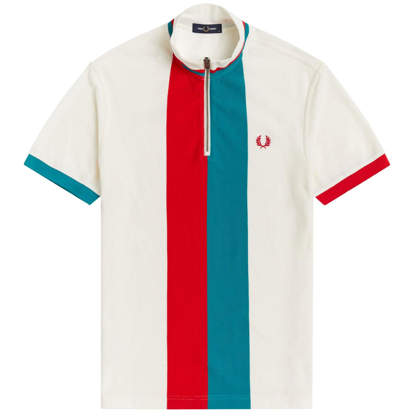 FRED PERRY Mod Bold Stripe Funnel Neck Cycling Top