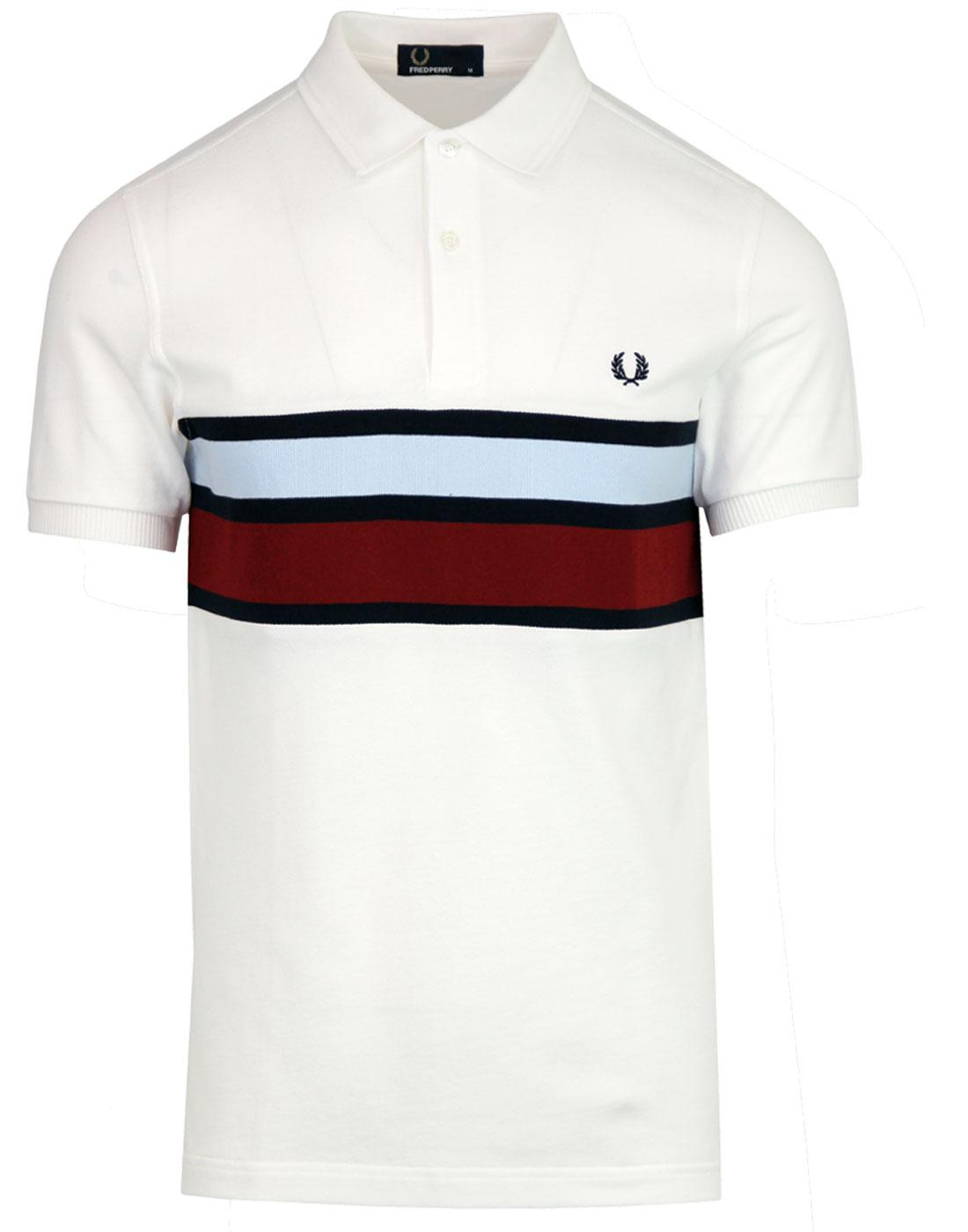 FRED PERRY Men's Mod Stripe Panel Pique Polo Shirt
