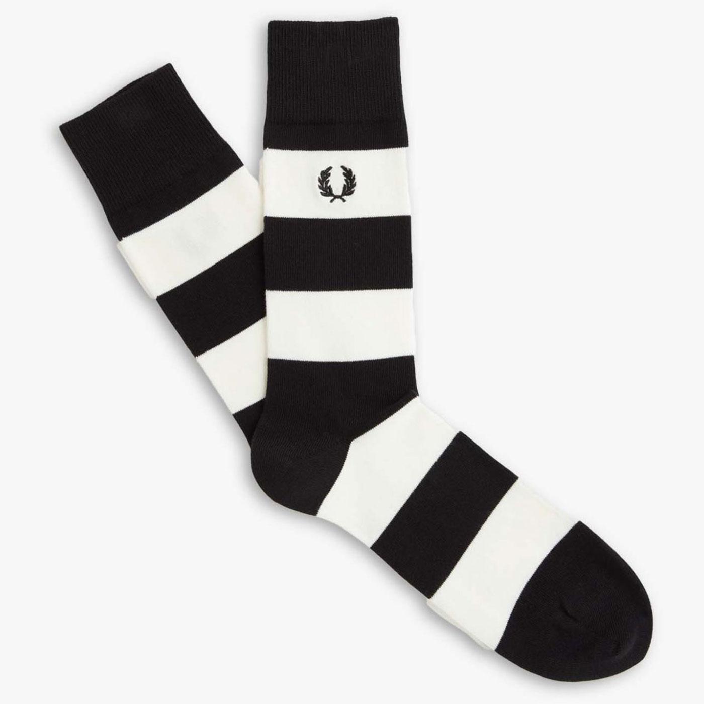 FRED PERRY Retro Block Stripe Socks - Black/Snow