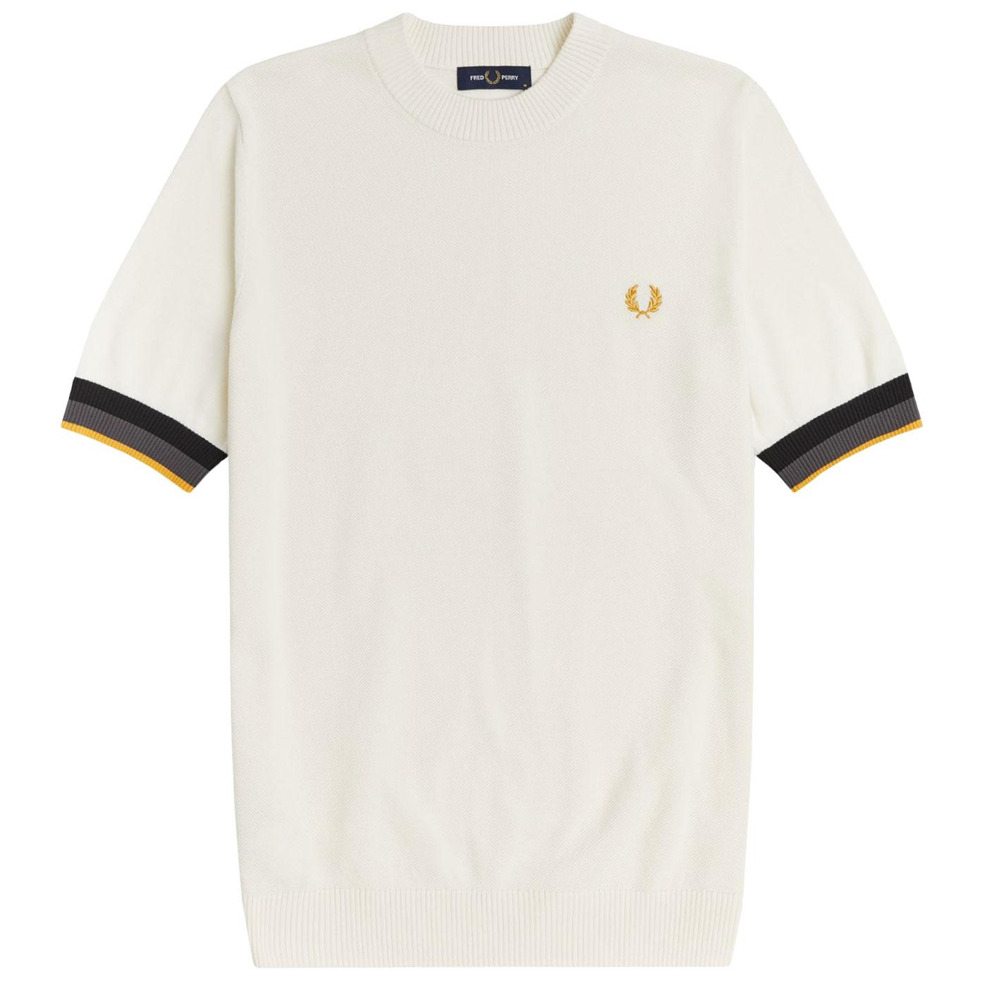 FRED PERRY Mod Striped Cuff Textured Knit T-shirt