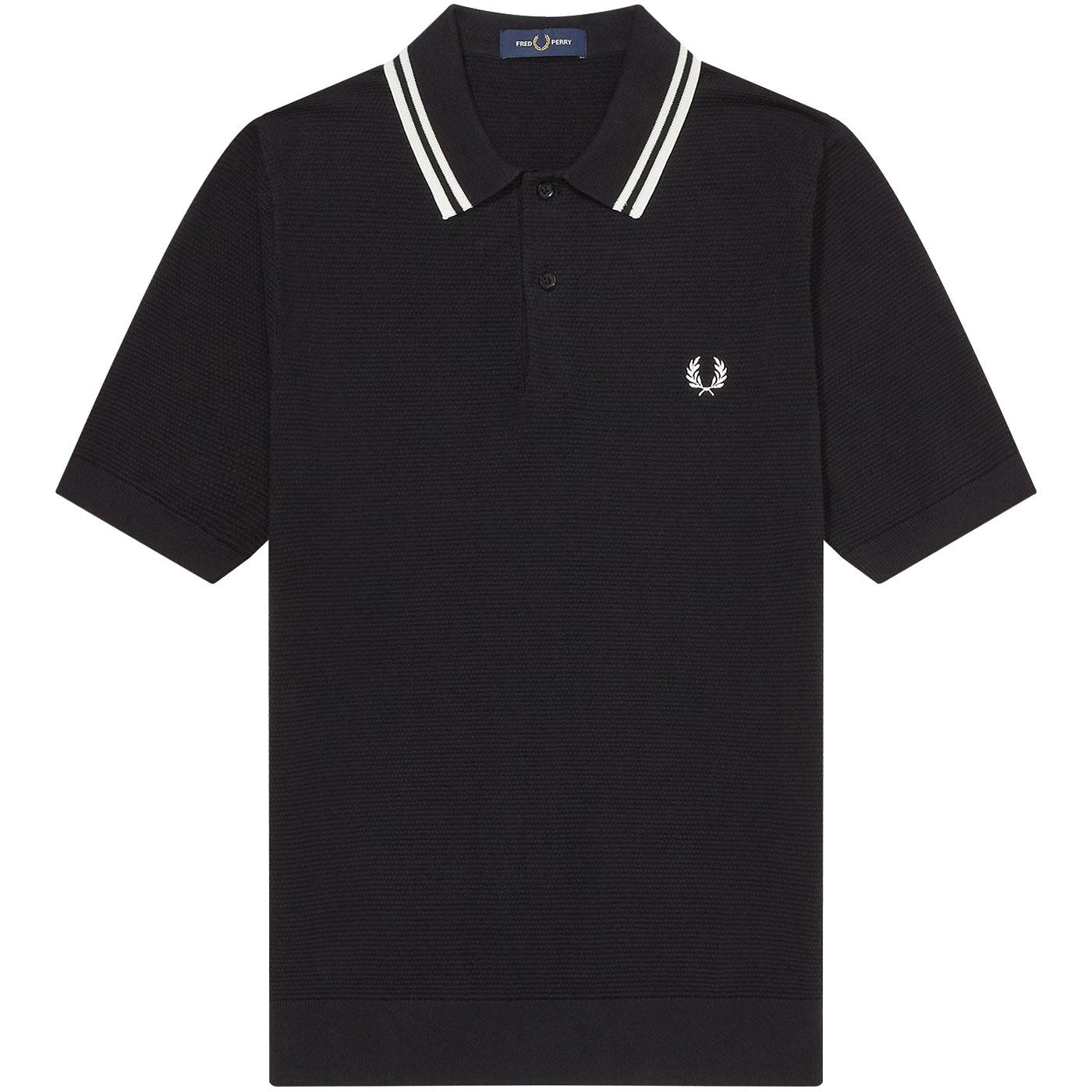 FRED PERRY Texture Knit Twin Tipped Polo Shirt (B)