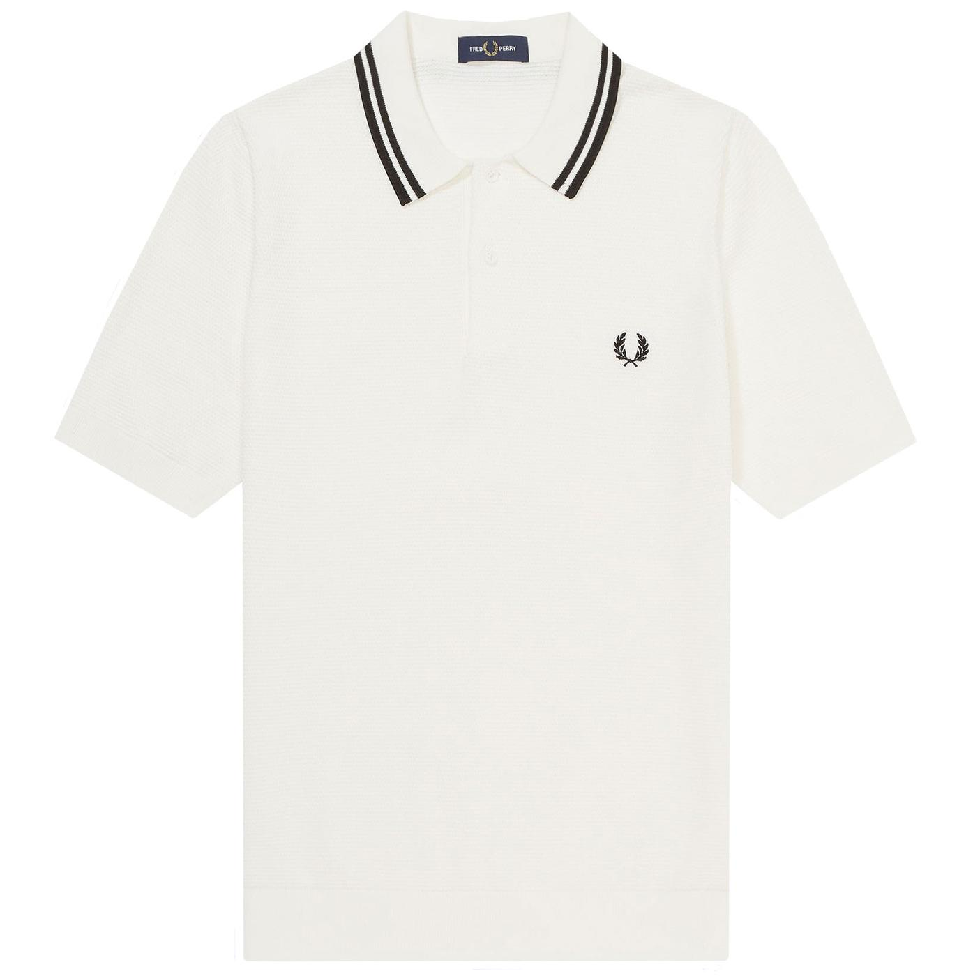 FRED PERRY Texture Knit Twin Tipped Polo Shirt SW