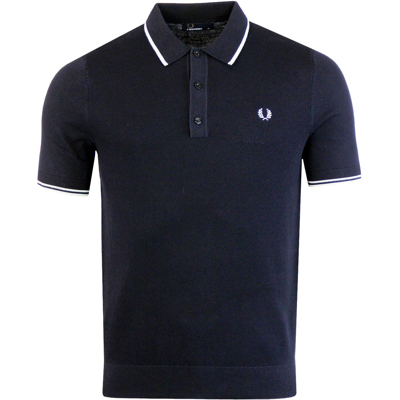 FRED PERRY Men's Mod Tipped Knitted Polo Shirt N