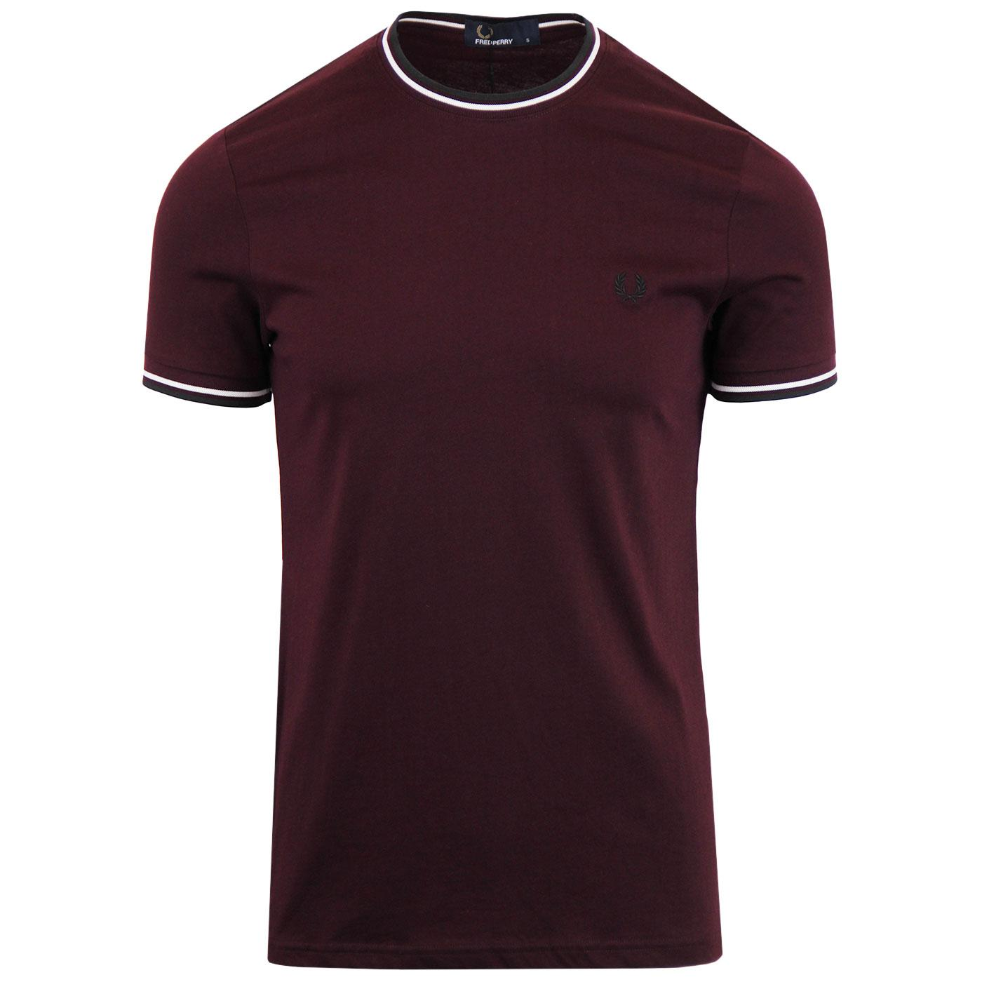 FRED PERRY Retro Twin Tipped Crew T-shirt MAHOGANY