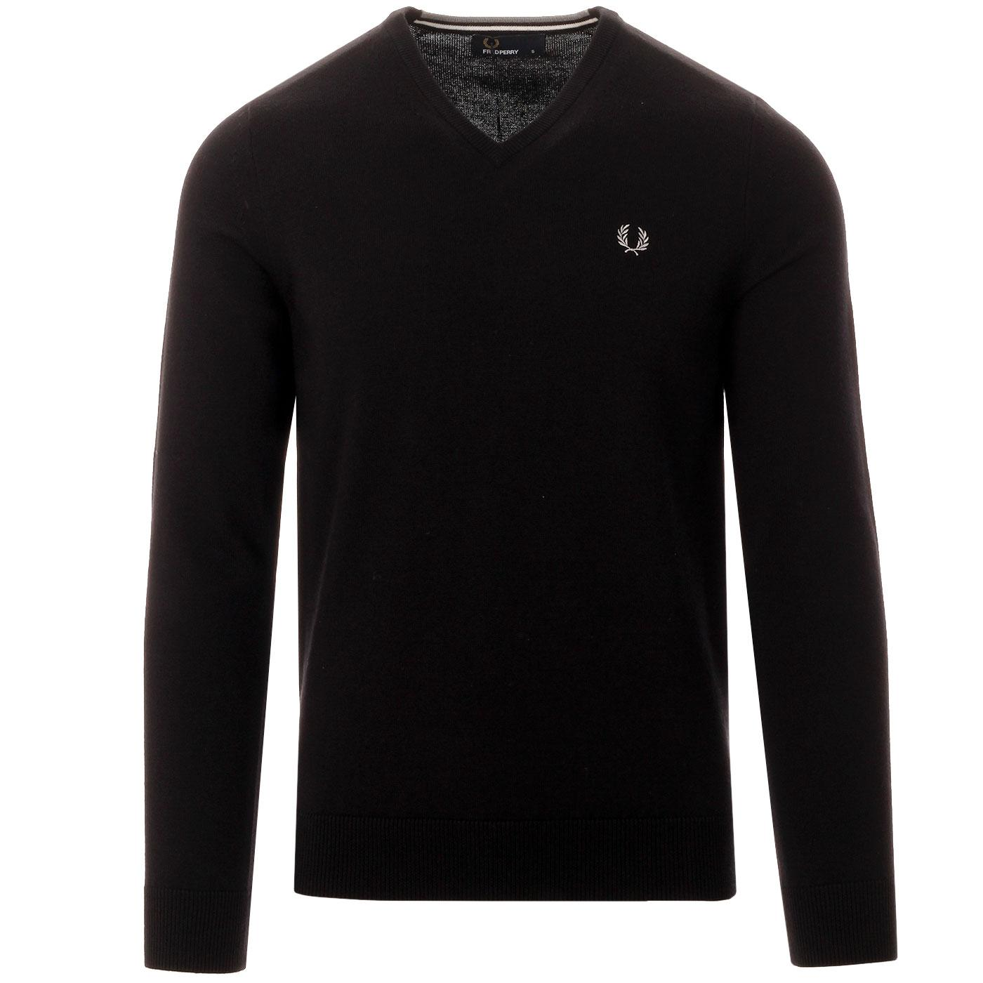 FRED PERRY Classic Mod Tipped V-Neck Jumper BLACK