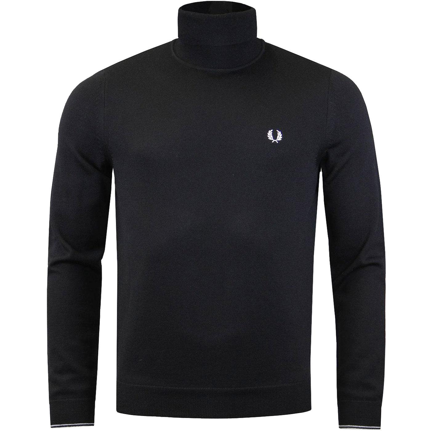 FRED PERRY Knitted Merino Wool Roll Neck Jumper B