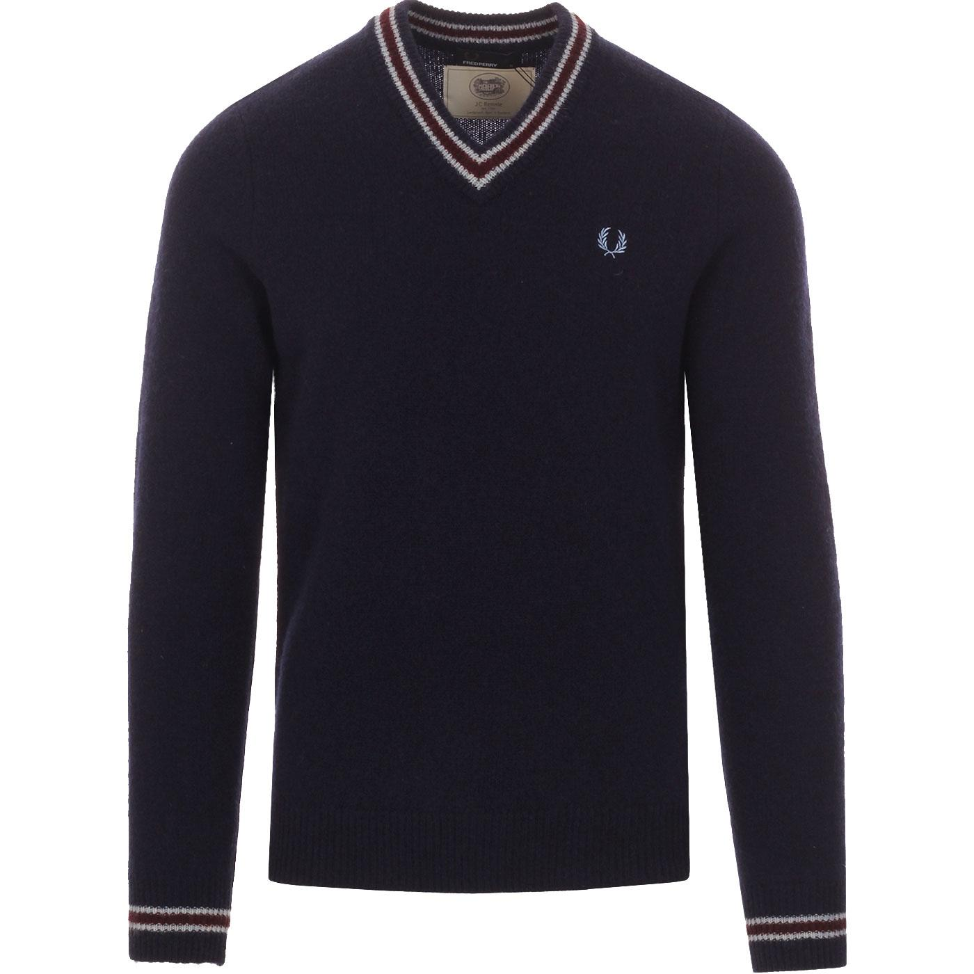 FRED PERRY Mens Retro Spun Lambswool V-Neck Jumper