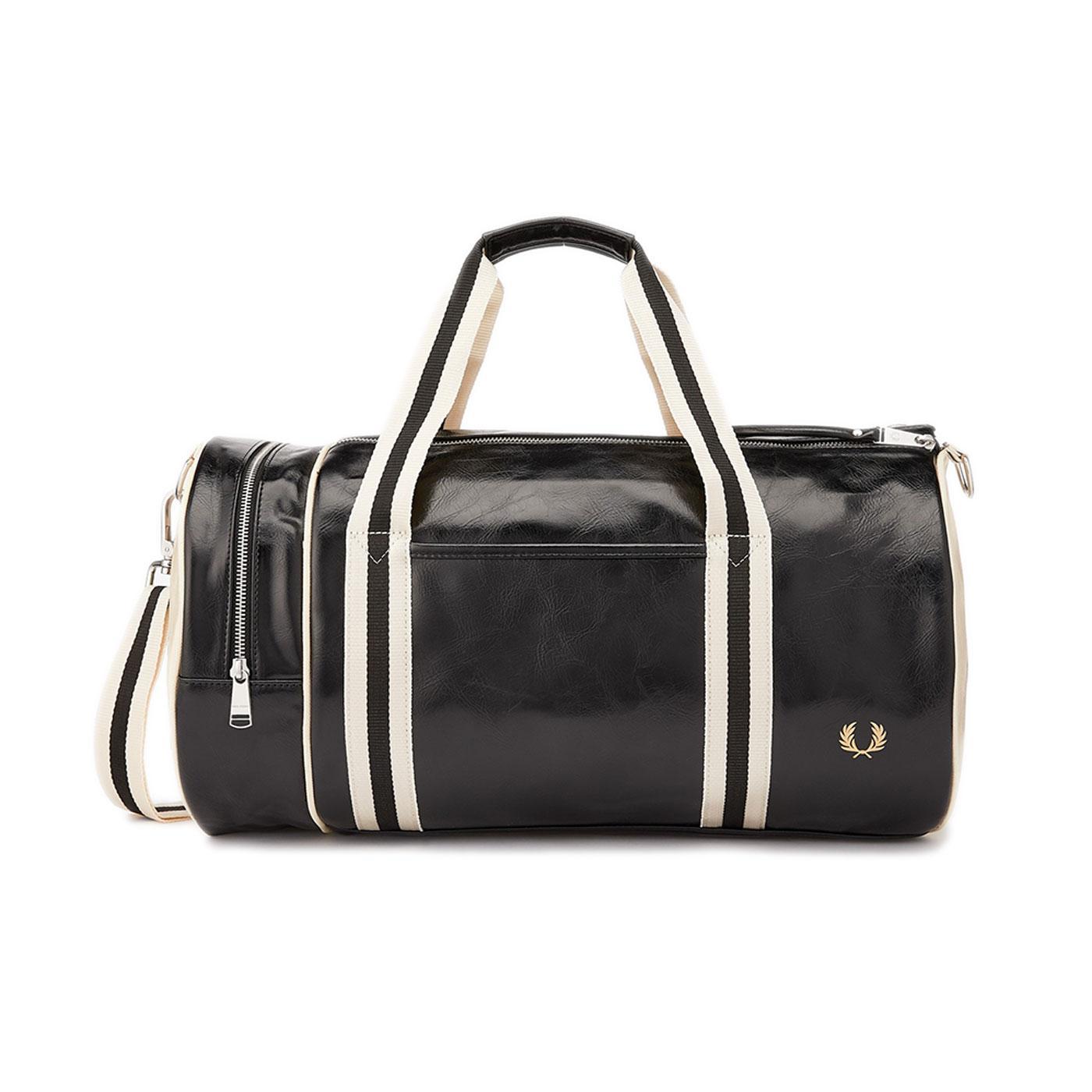 FRED PERRY Classic Retro Barrel Bag - Black/Ecru