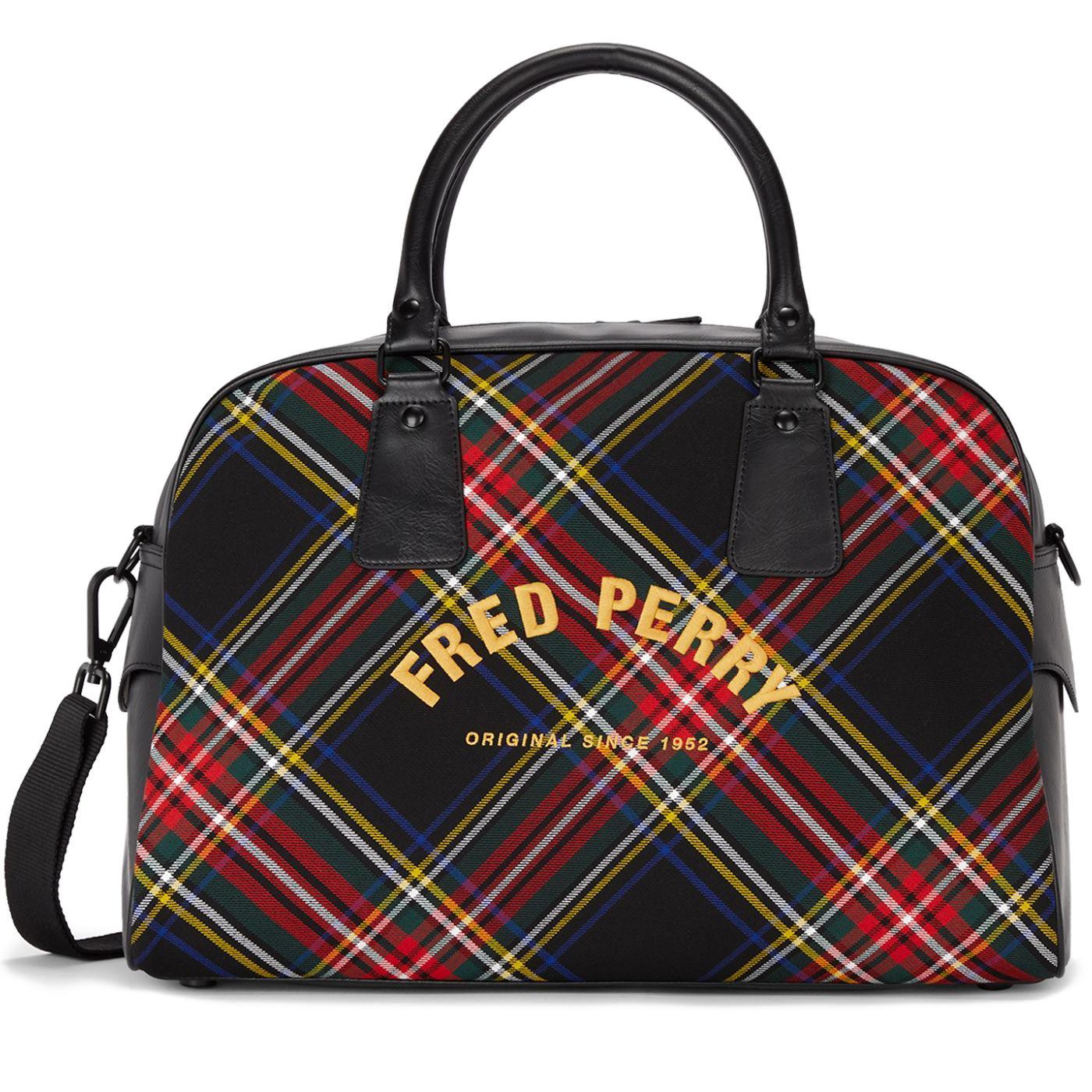 FRED PERRY Retro Mod Tartan Bowling Bag (Black)