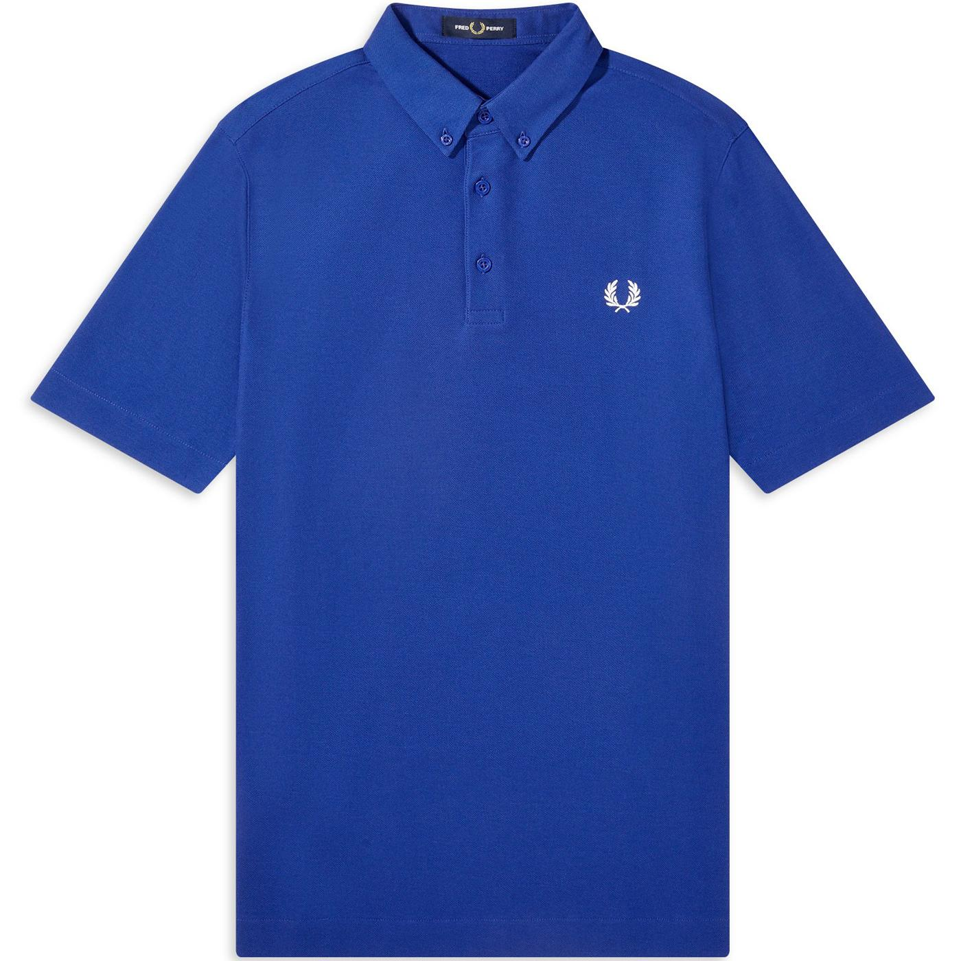 FRED PERRY M8543 Button Down Pique Polo (Cobalt)