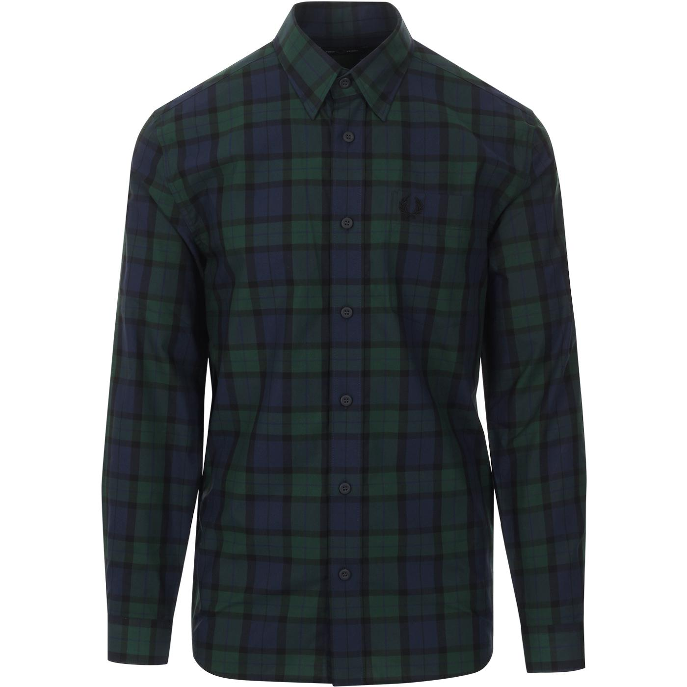 FRED PERRY Button Through Retro Green Tartan Shirt