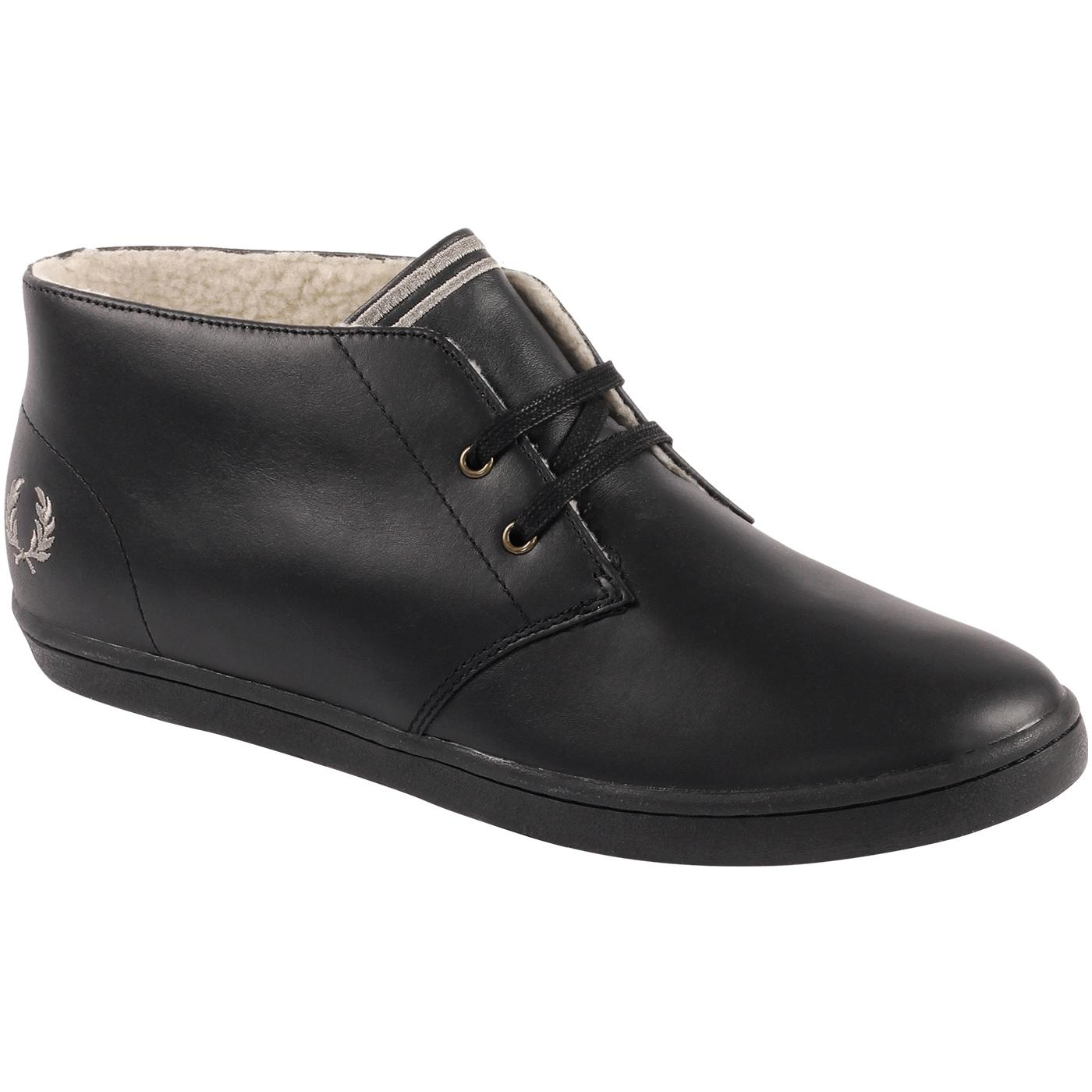 Byron FRED PERRY Mid Leather Ankle Boots In Black