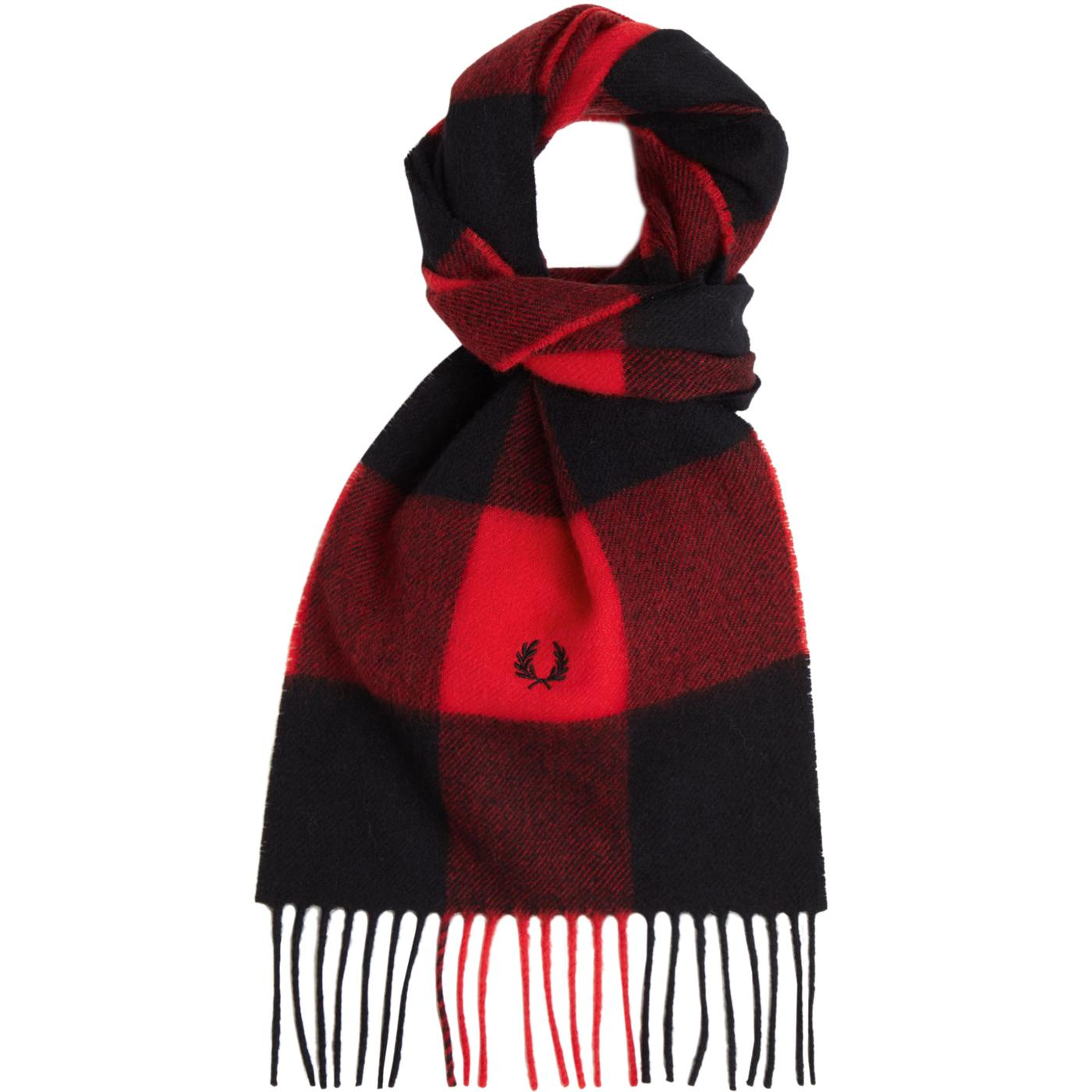 FRED PERRY Made in Scotland Mod Gingham Scarf B/RR