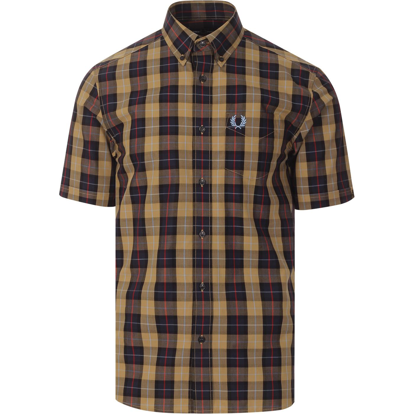 FRED PERRY Mod Plaid Check SS Shirt (Navy)