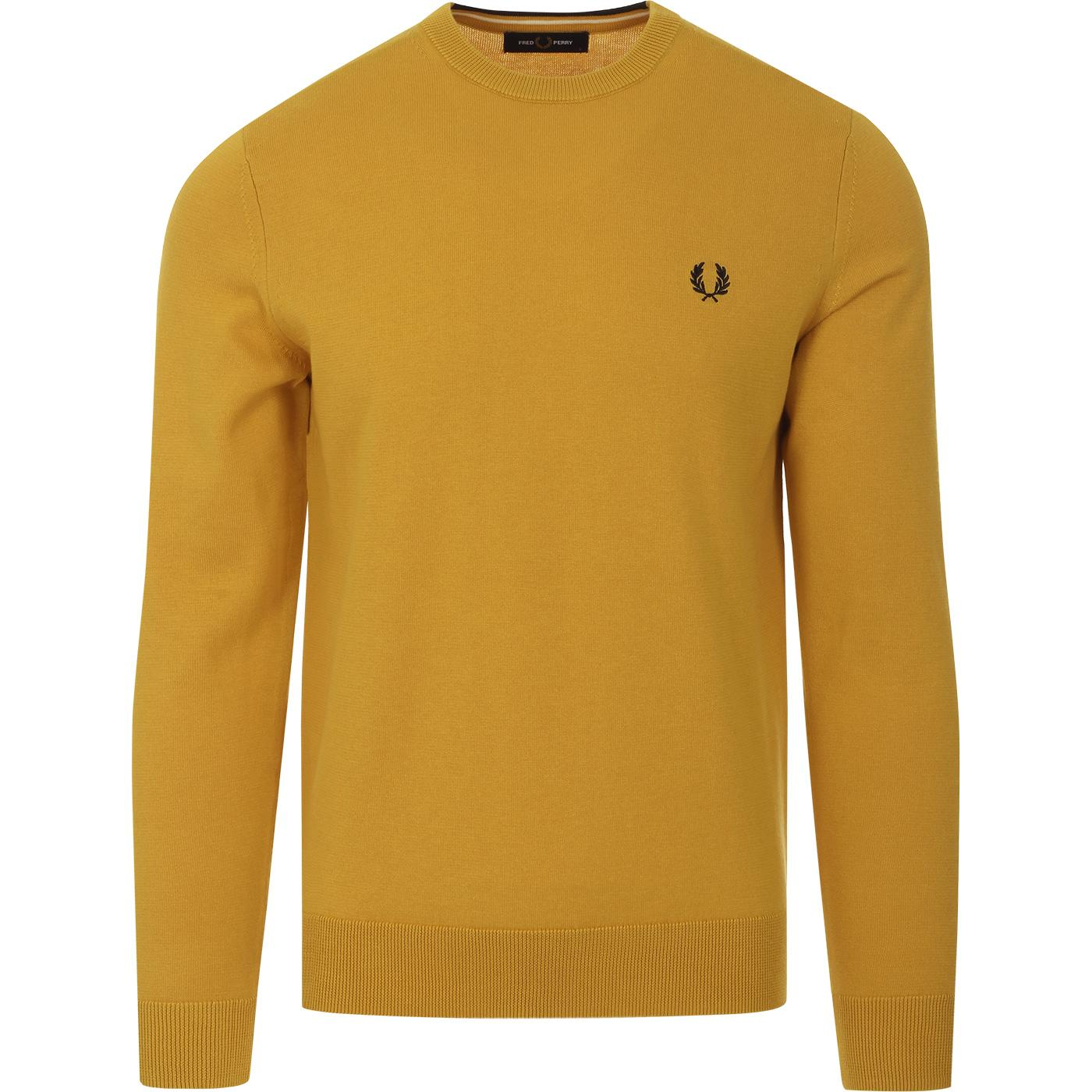 FRED PERRY Men's Mod Knitted Crew Jumper (Gold)