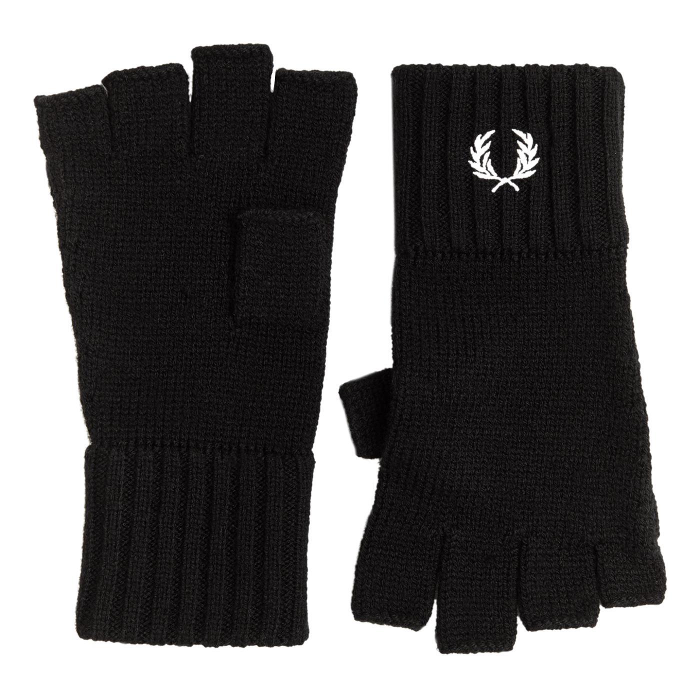 FRED PERRY Retro Wool Fingerless Gloves (Black)