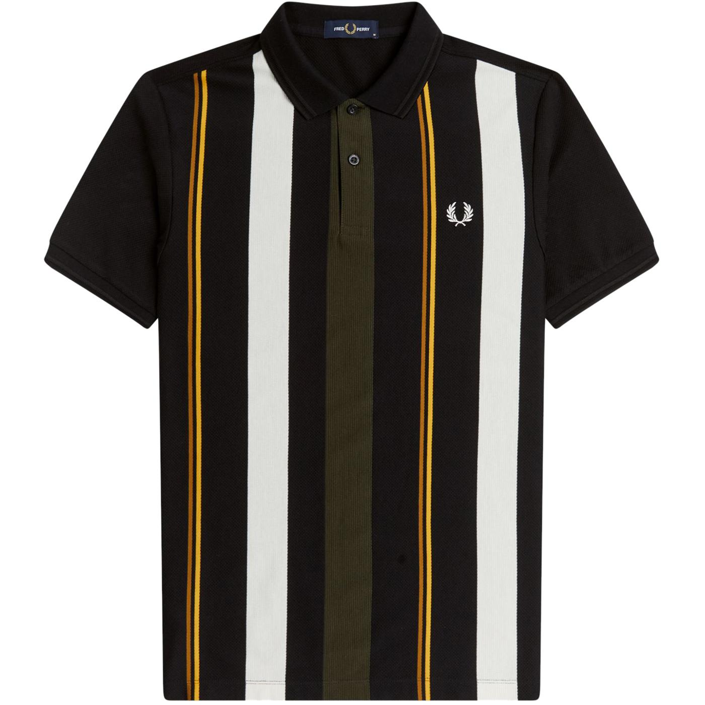FRED PERRY Mod Knitted Stripe Pique Polo Shirt