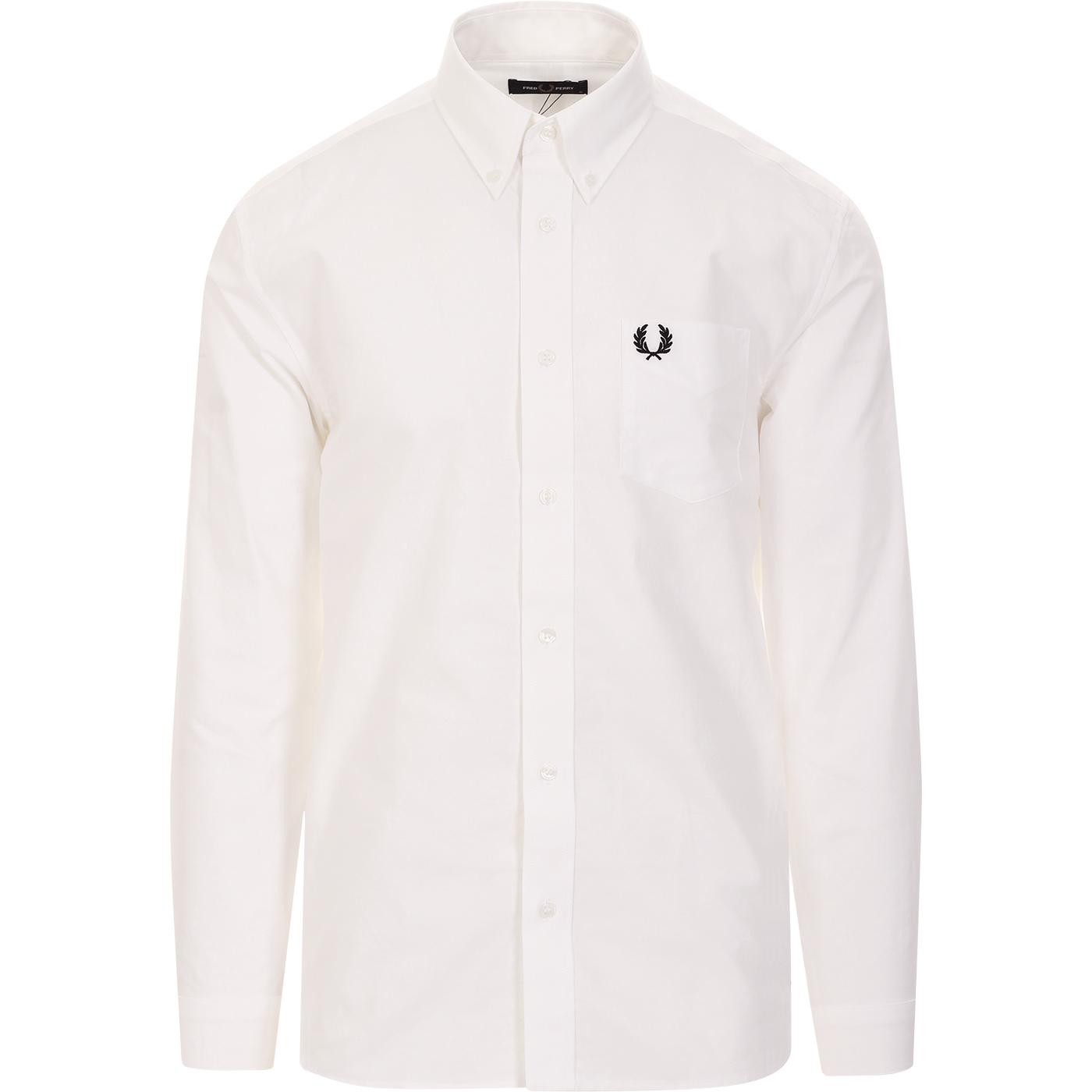 FRED PERRY Mod Button Down Oxford Shirt (White)