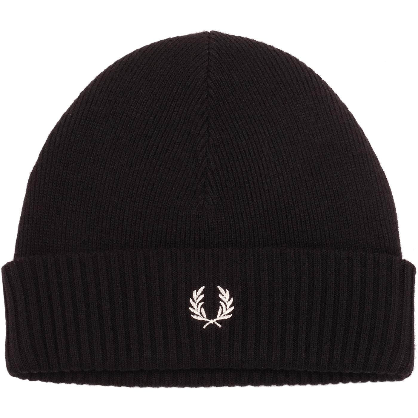 FRED PERRY Retro Knit Roll Up Beanie Hat (Black)