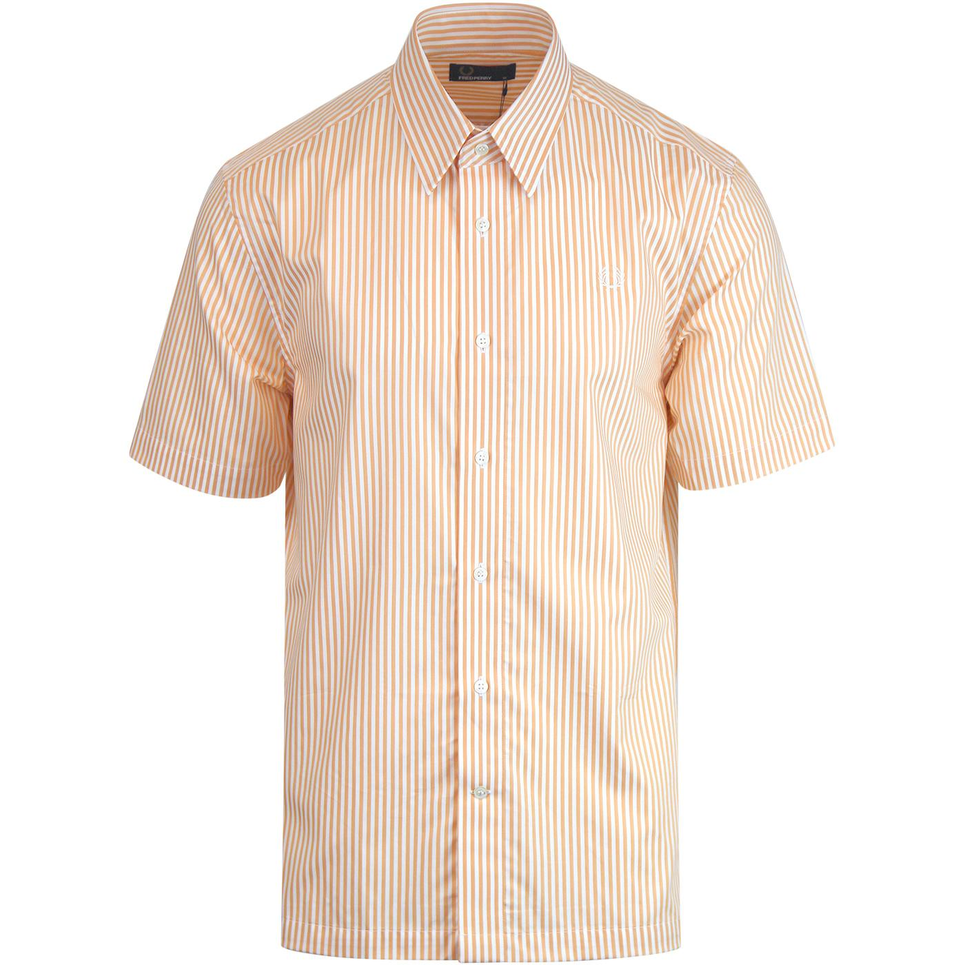 FRED PERRY S/S Vertical Stripe Mod Shirt APRICOT