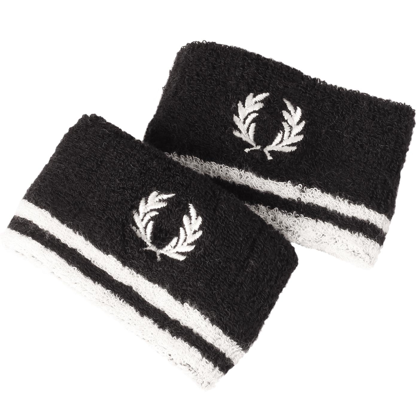 FRED PERRY Retro Tipped Towelling Sweatbands (B/W)