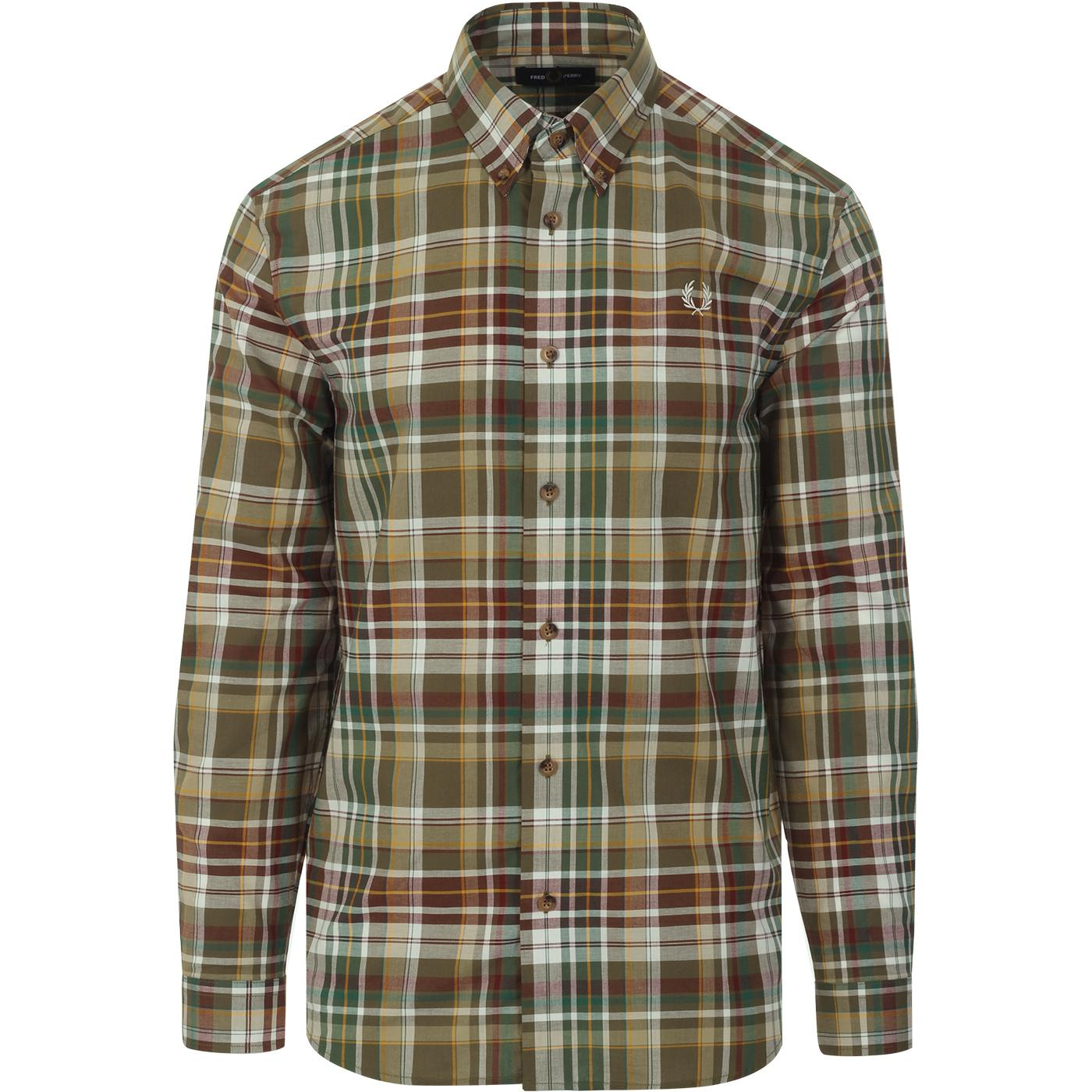 FRED PERRY Button Down Military Tartan Check Shirt