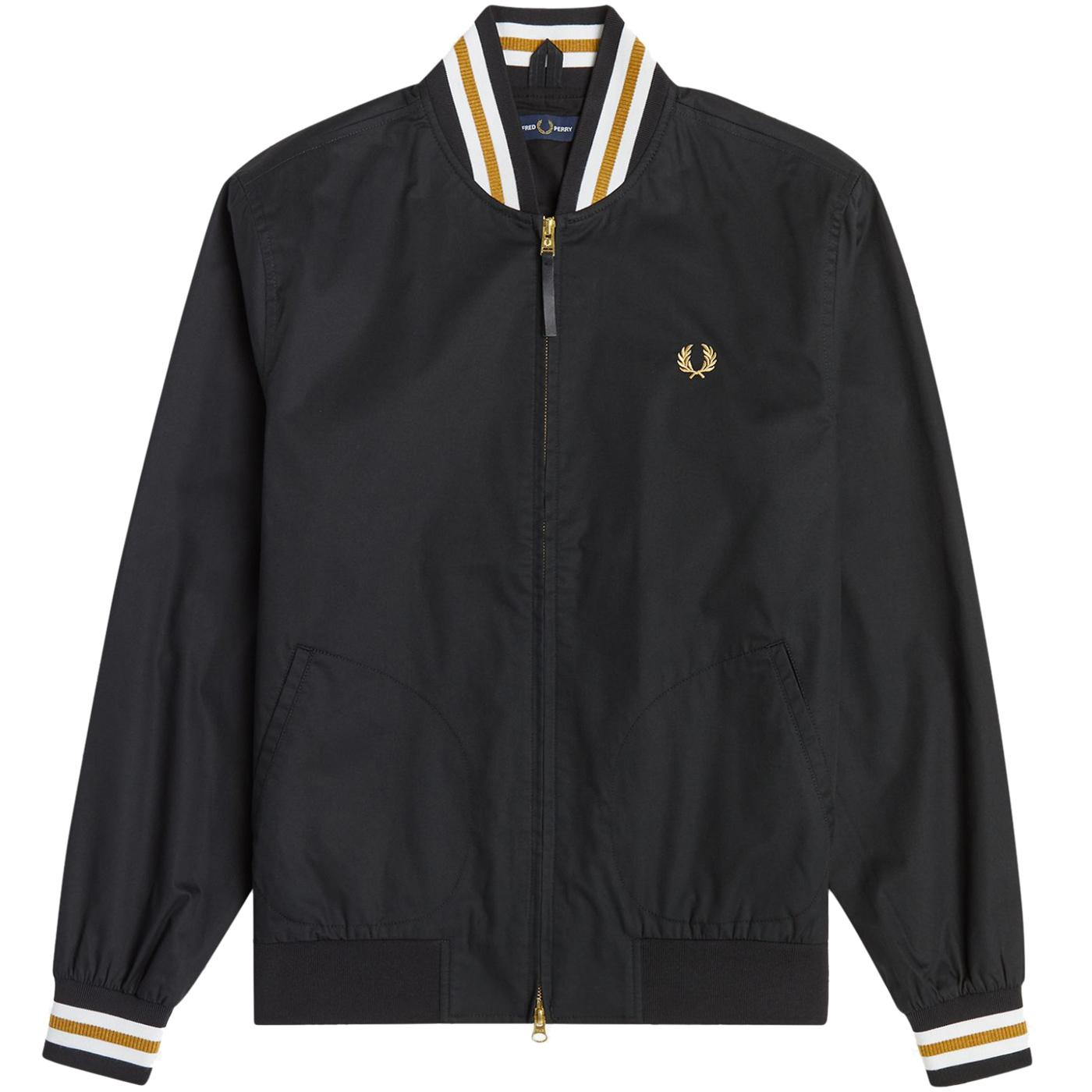FERD PERRY Mod Tennis Bomber Jacket (Black)