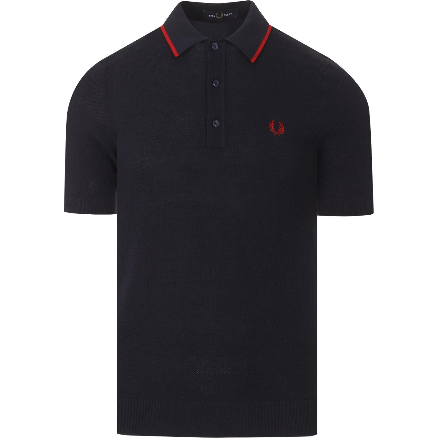 FRED PERRY Mod Tipped Knitted Polo Shirt (DC)