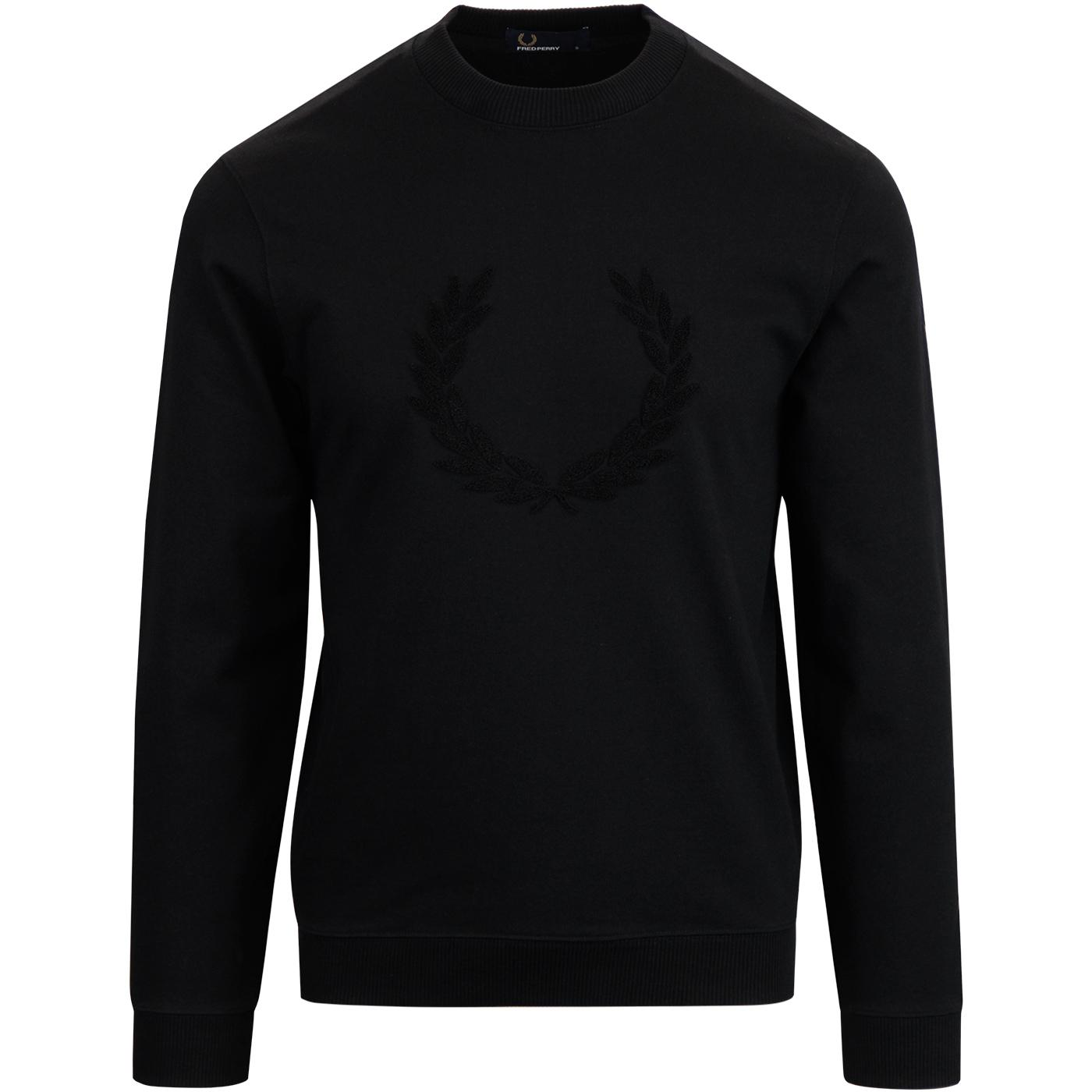 FRED PERRY Retro Textured Laurel Wreath Sweatshirt